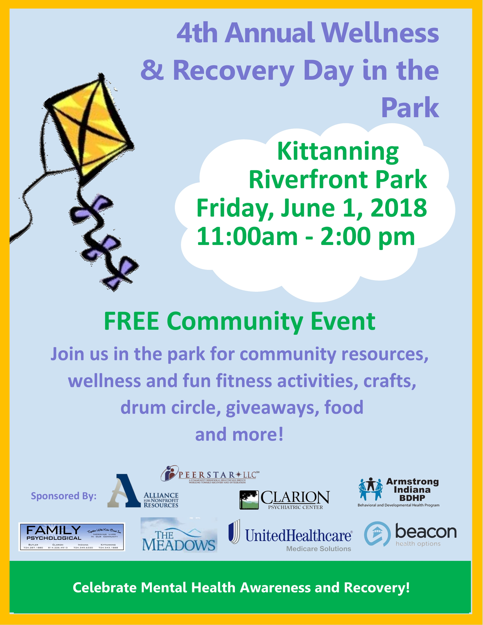 ARMSTRONG COUNTY Wellness and Recovery in the Park 2018