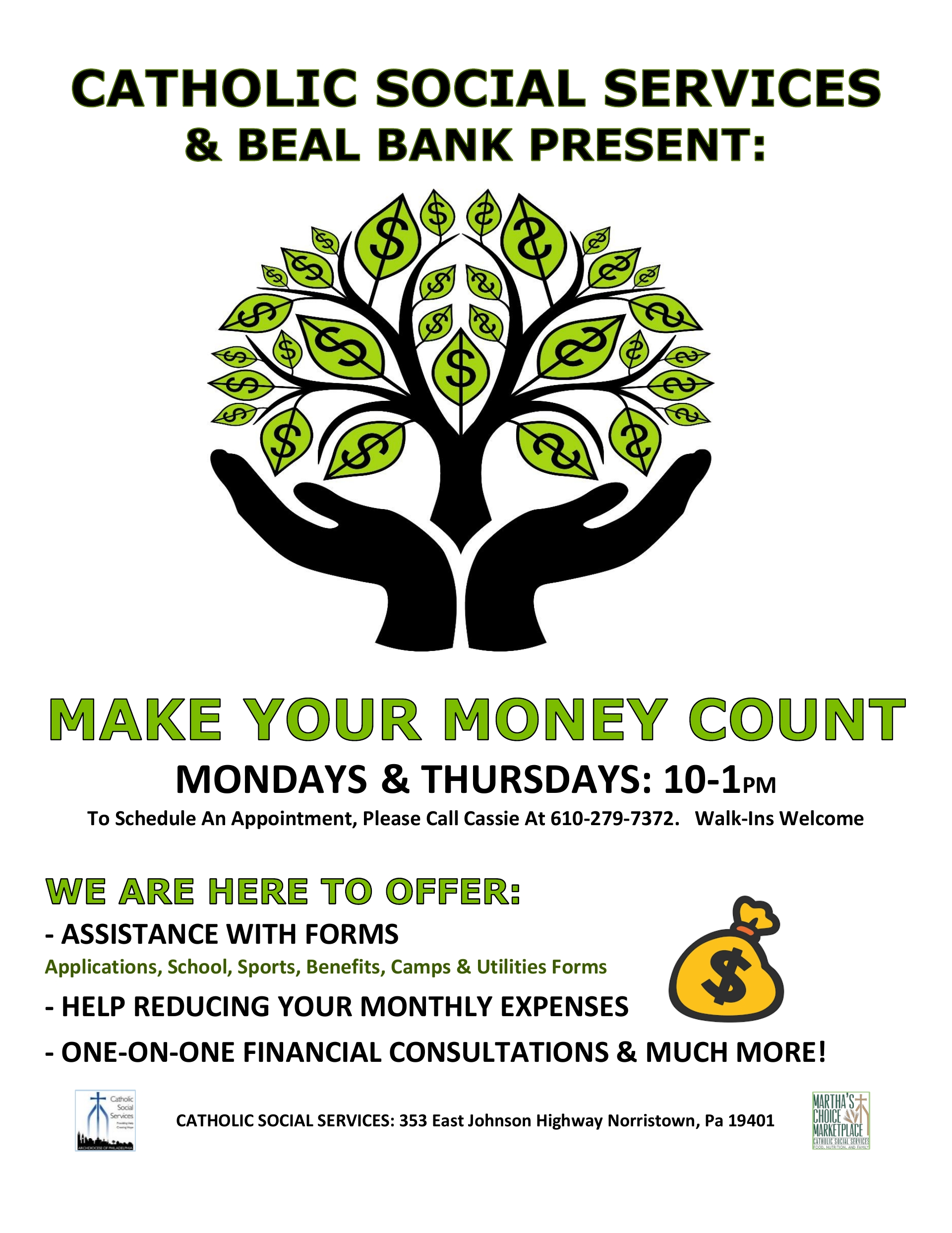 MAKE YOUR MONEY COUNT Financial Assistance Montgomery County  English and Espanol Flyers/Information