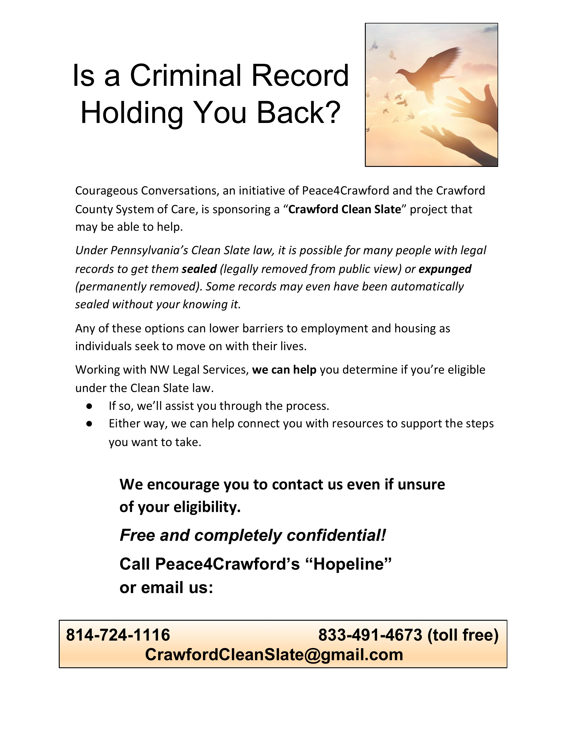 Is a Criminal Record Holding You Back? Crawford County Initiative