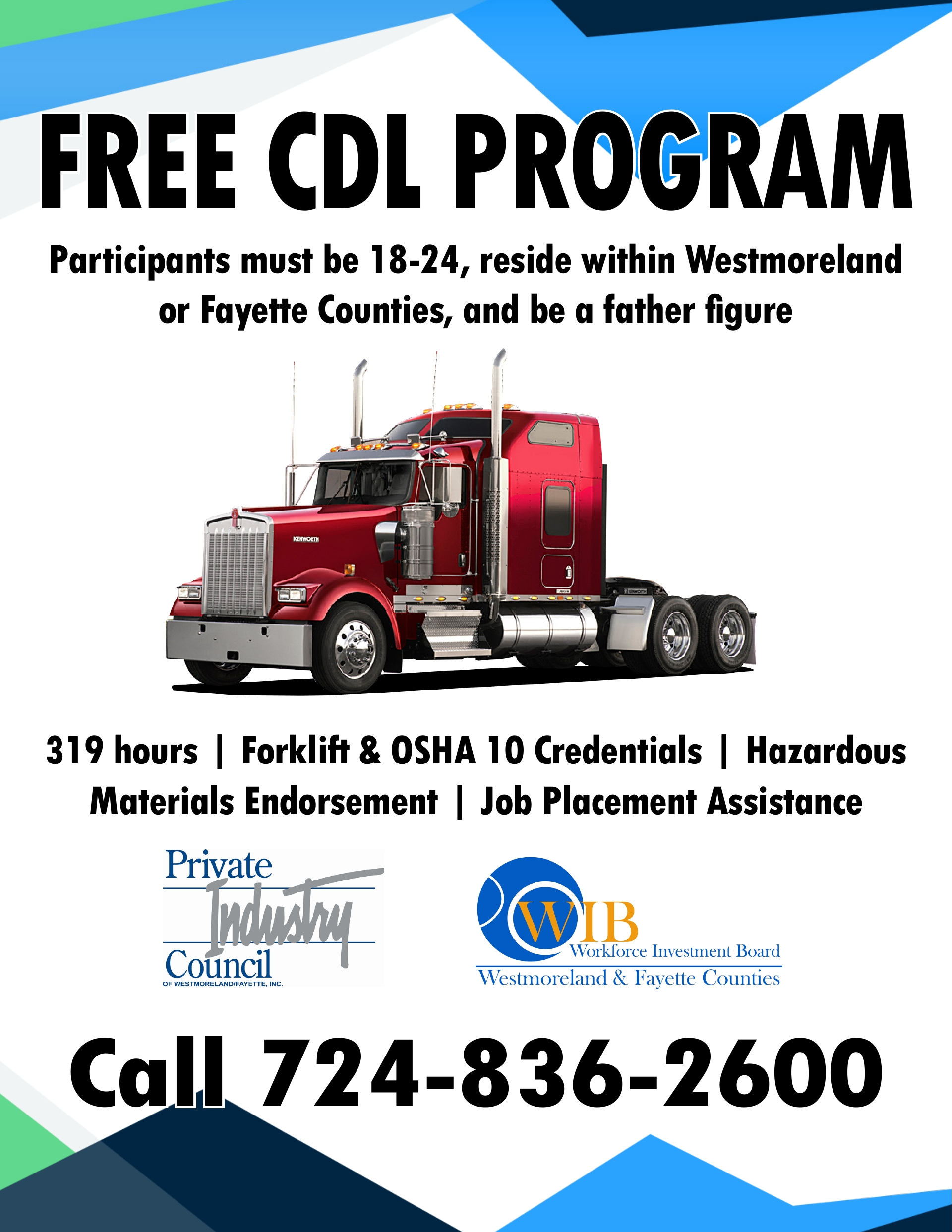 FREE CDL PROGRAM in Westmoreland County Father Figures ages 18 to 24