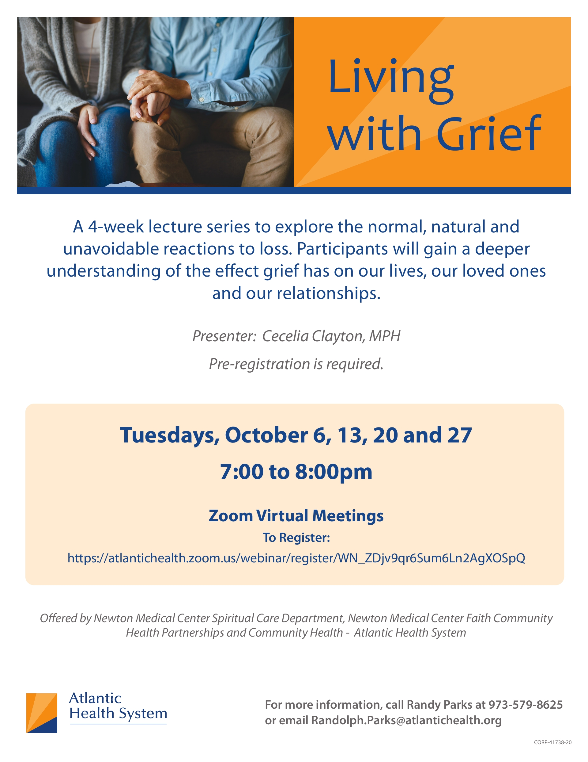LIVING WITH GRIEF 4-week Lecture Series October 6,13,20,27, 2020