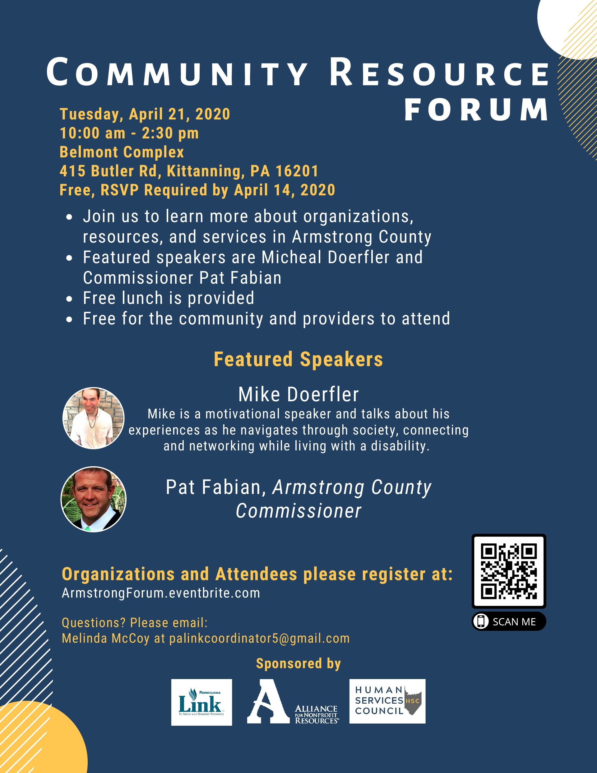 COMMUNITY RESOURCE FORUM Armstrong County April 21, 2020,