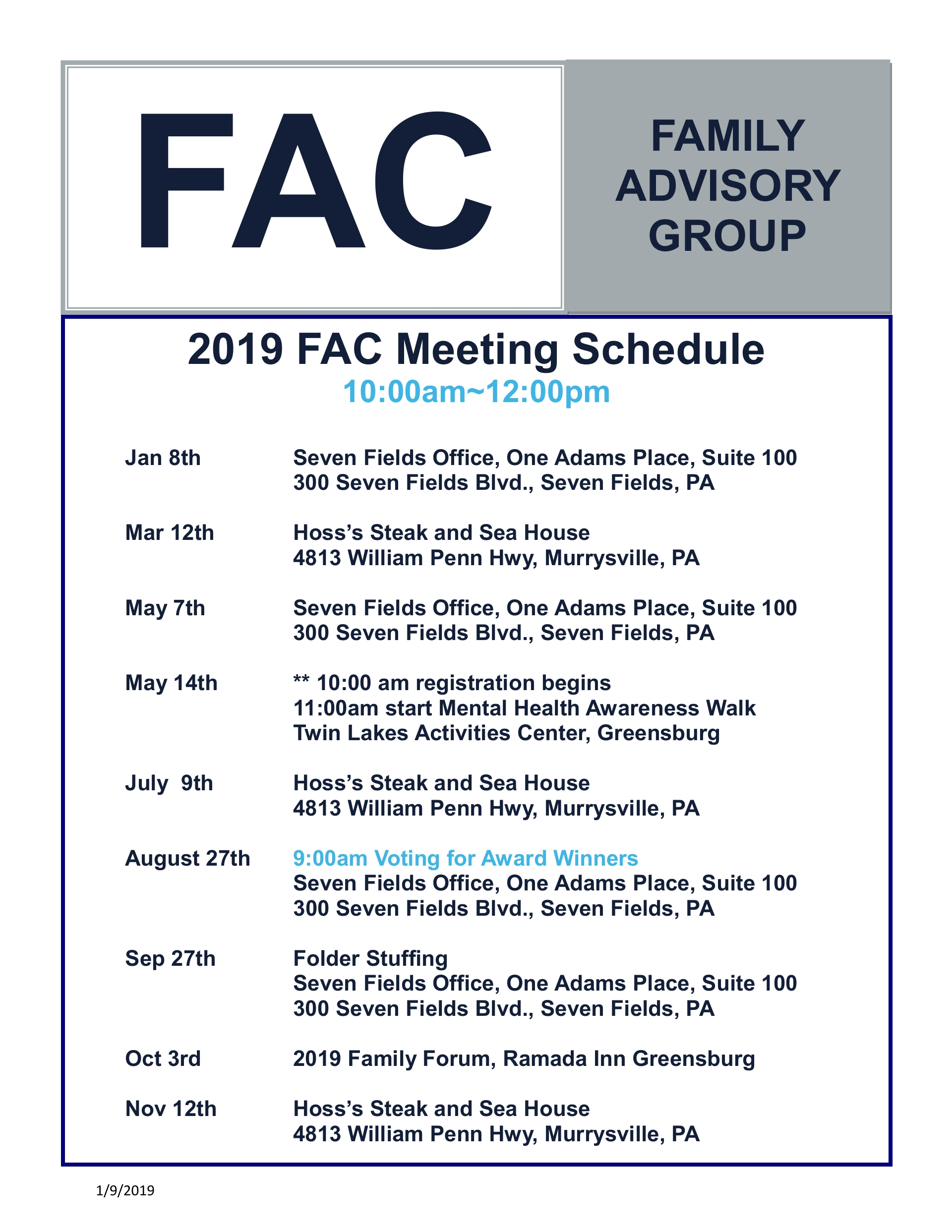BEACON FAMILY FORUM  Save the Date October 3, 2019