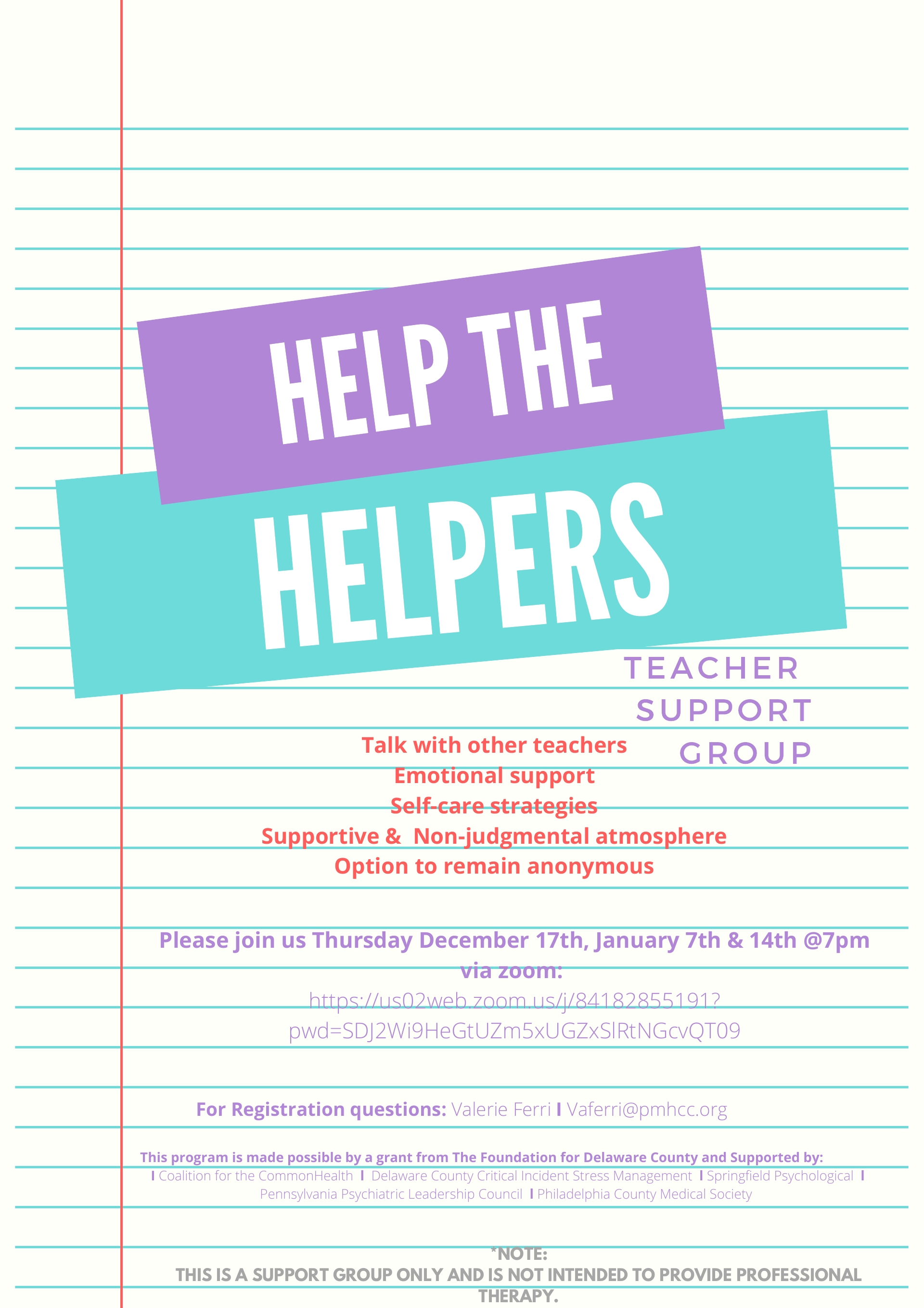 TEACHER SUPPORT GROUP January 7th & 14th @7pm