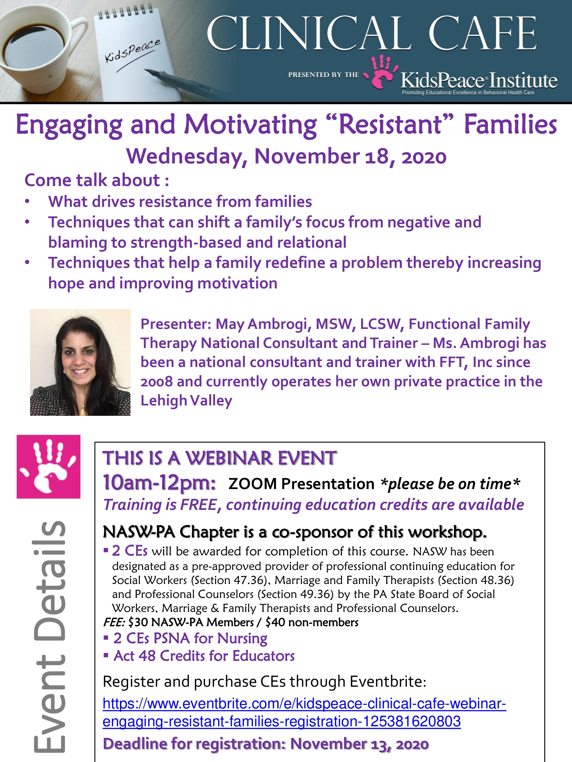 """KidsPeace VIRTUAL Clinical Café Engaging and Motivating """"Resistant"""" Families November 2020"""