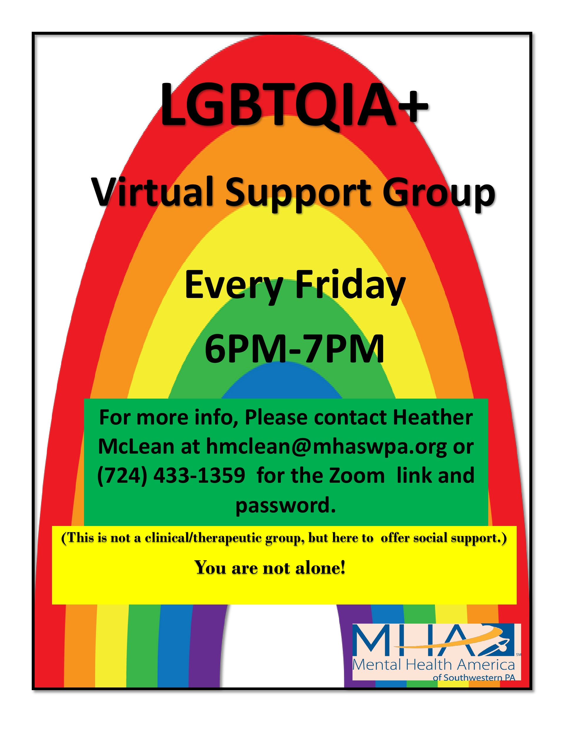 LGBTQIA+ Virtual Support Group! Every Friday!