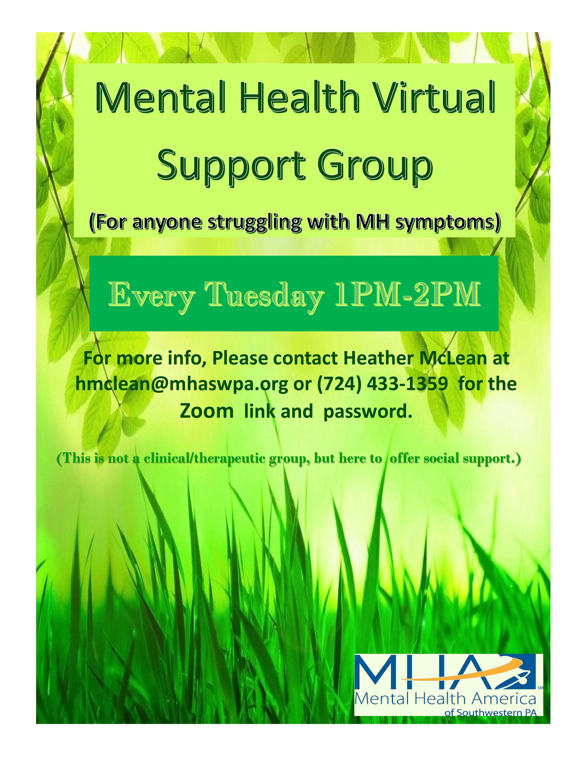 SUPPORT GROUPS! MENTAL HEALTH GROUP AND  ANXIETY/STRESS GROUP MHA