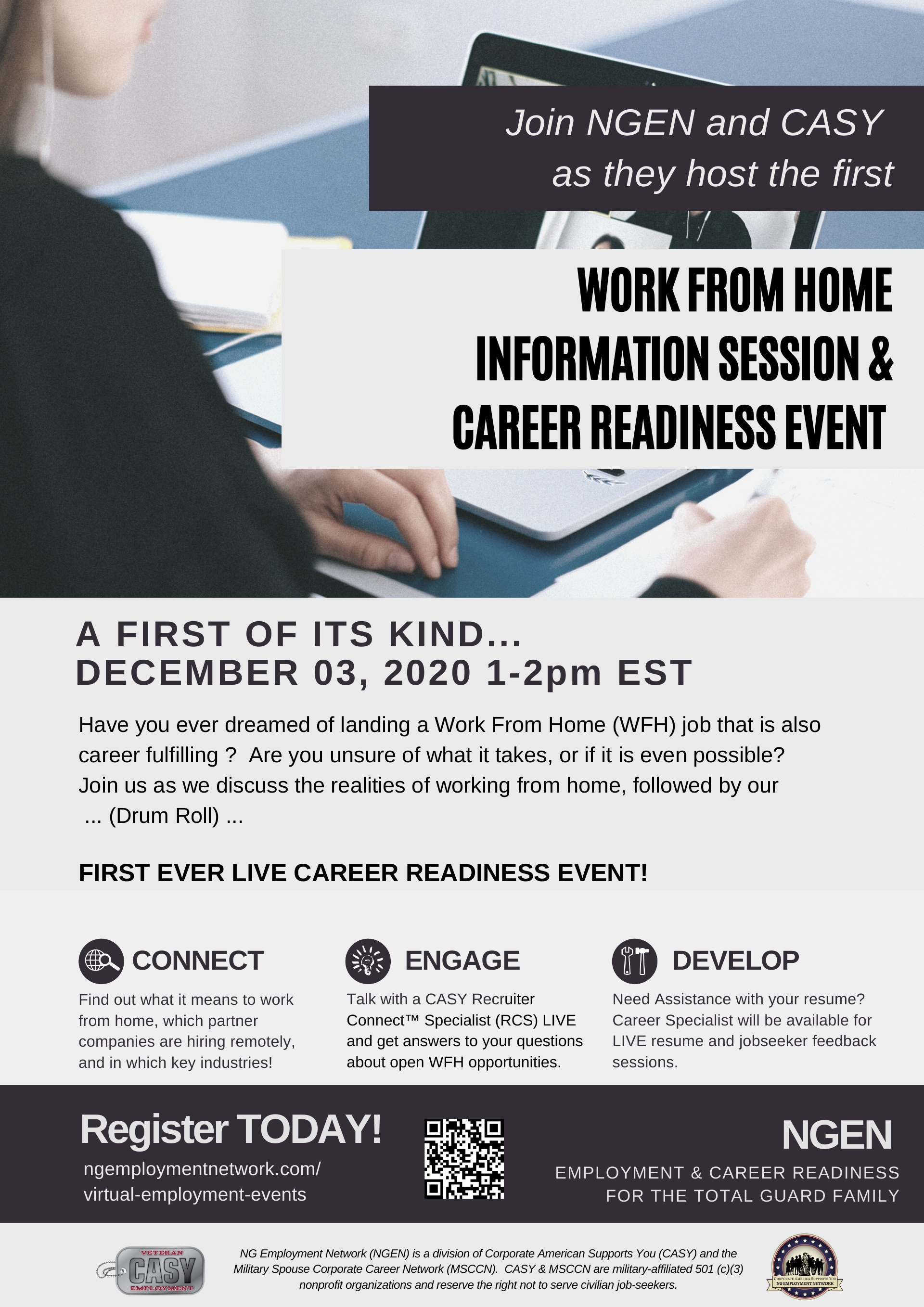 EMPLOYMENT & CAREER READINESS FOR THE TOTAL GUARD FAMILY Virtual Training Event Dec. 3 2020