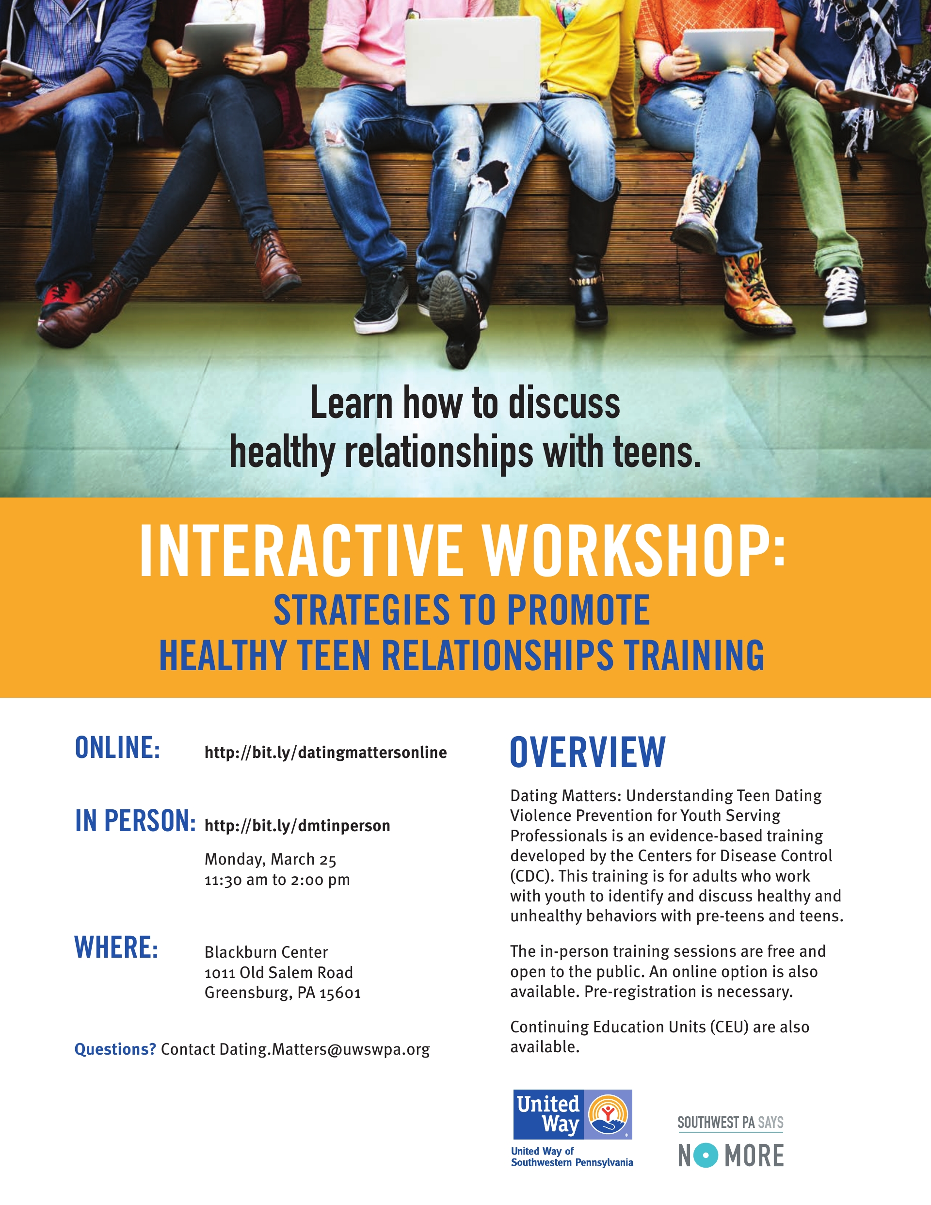 Strategies to Promote Healthy Teen Relationships Online & Westmoreland County March 2019