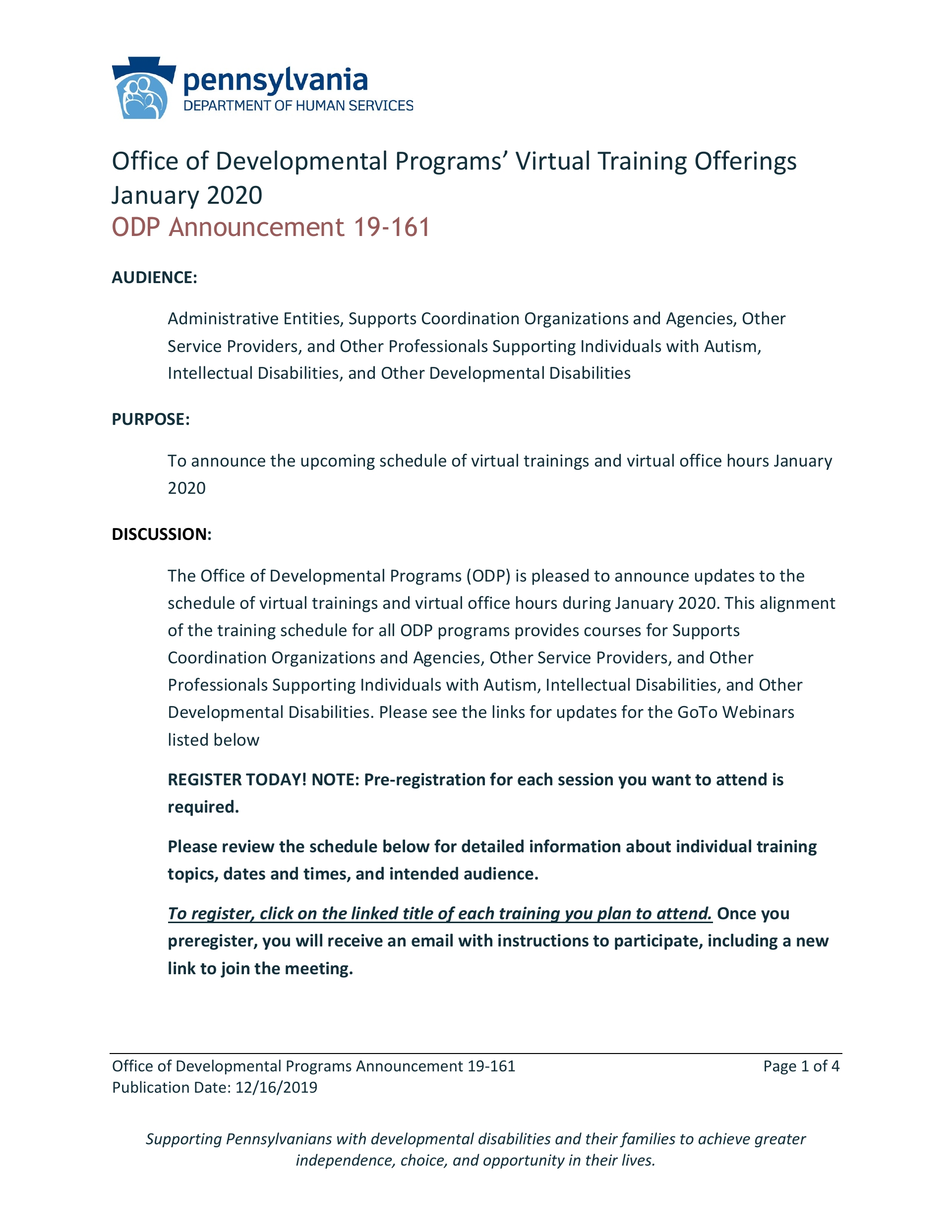 ODP VIRTUAL TRAININGS FOR JANUARY 2020