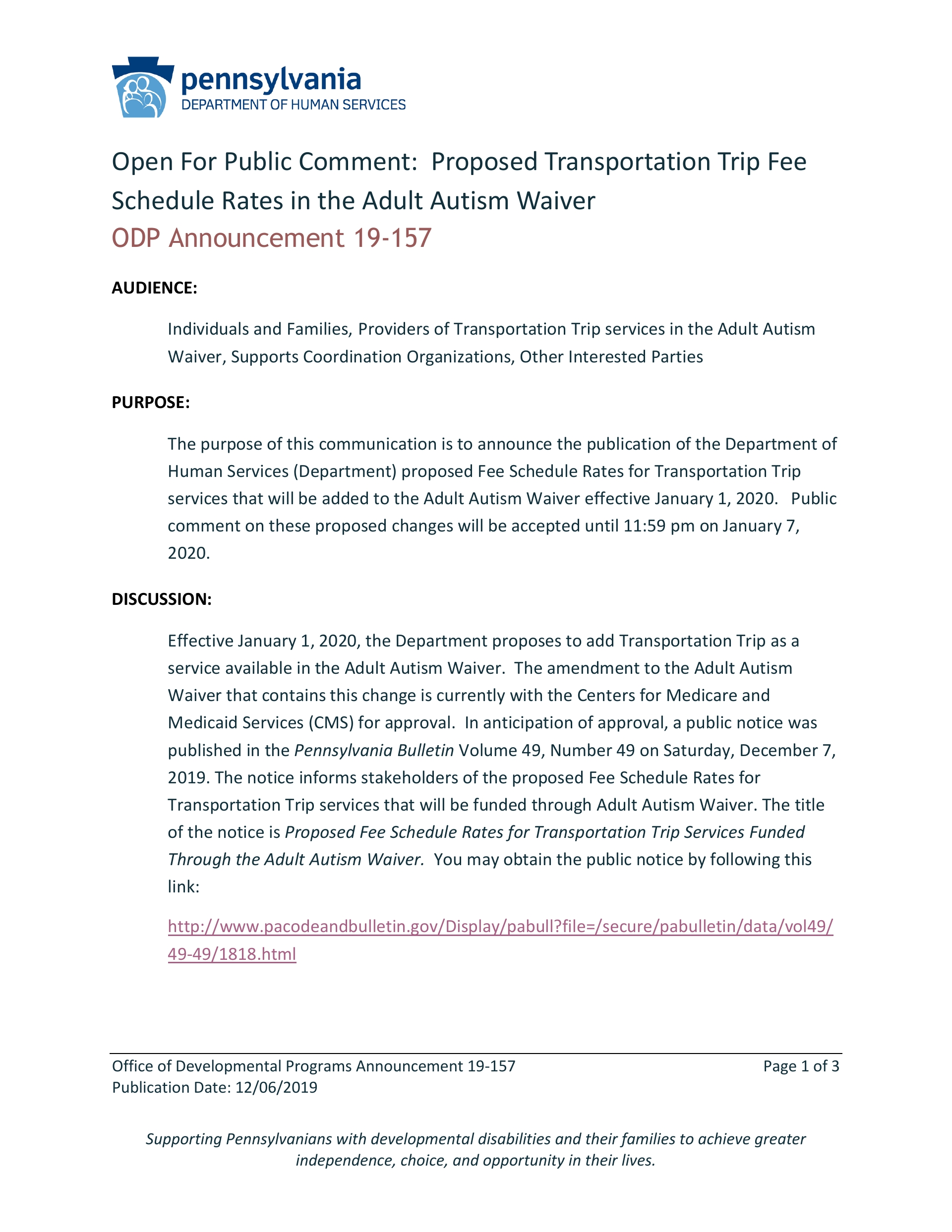 Open For Public Comment: Proposed Transportation Trip Fee Schedule Rates in the Adult Autism Waiver