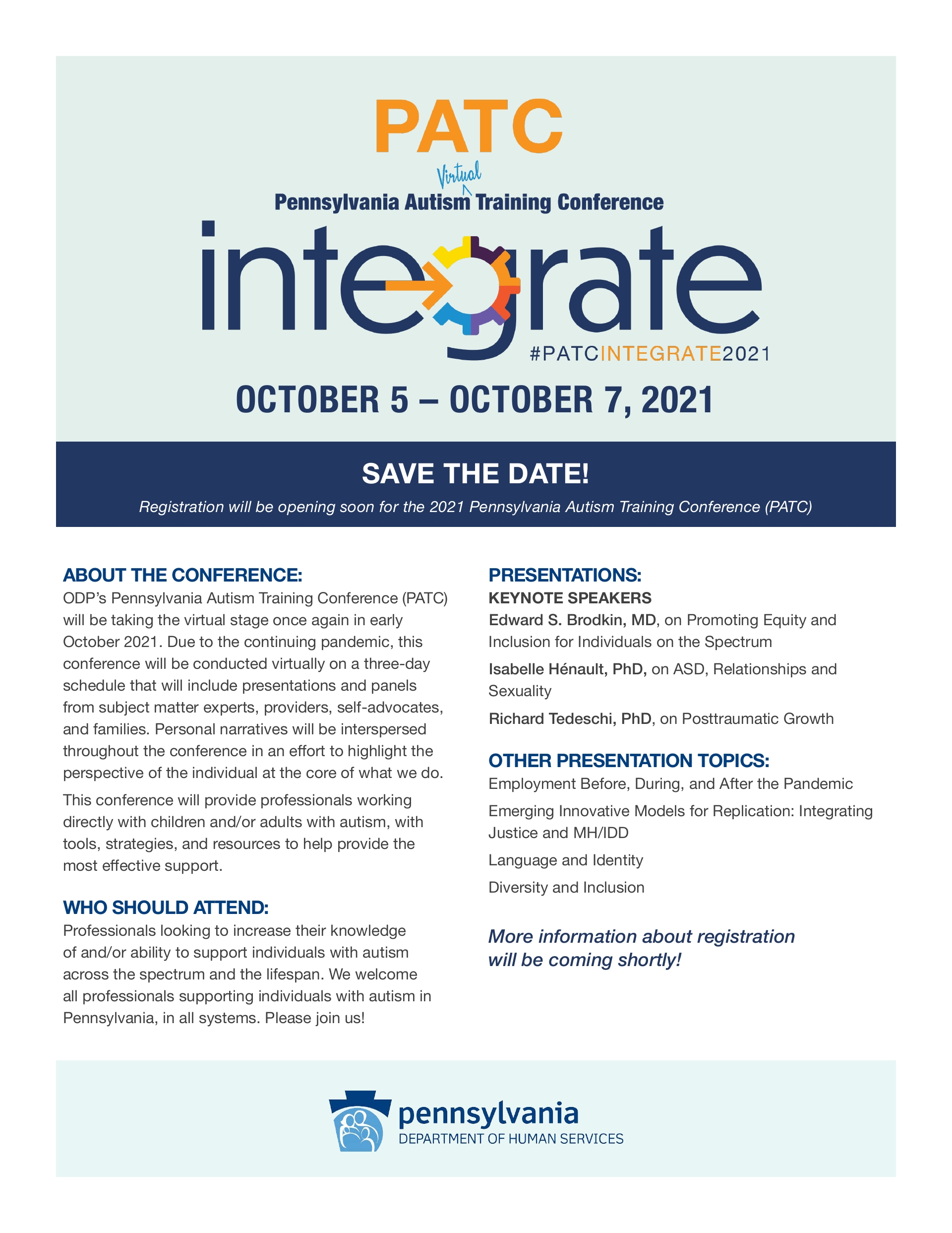 Save the Date! Pennsylvania Autism Training Conference (PATC) October 2021