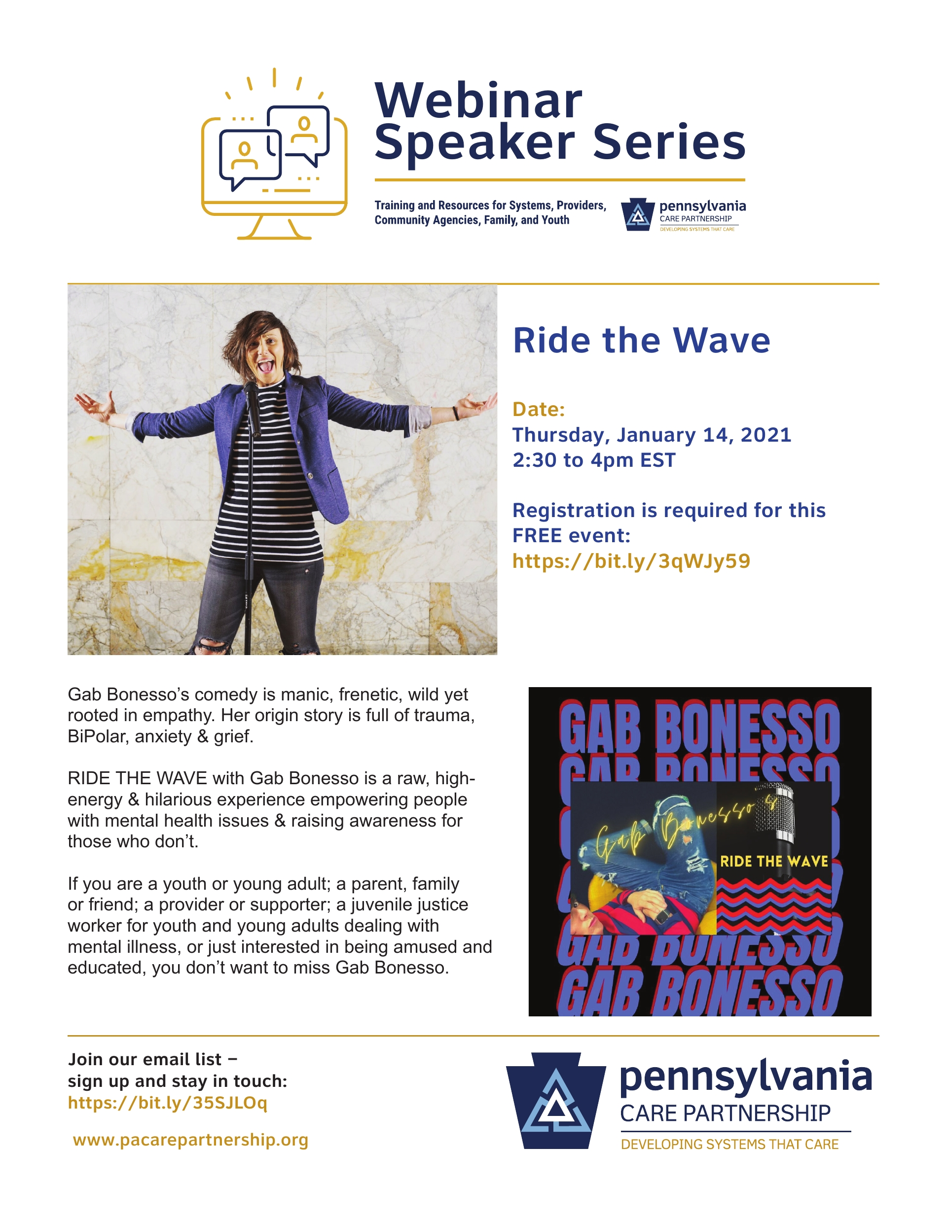 Ride the Wave with Gab! Thursday, January 14, 2021 2:30 p.m. EST