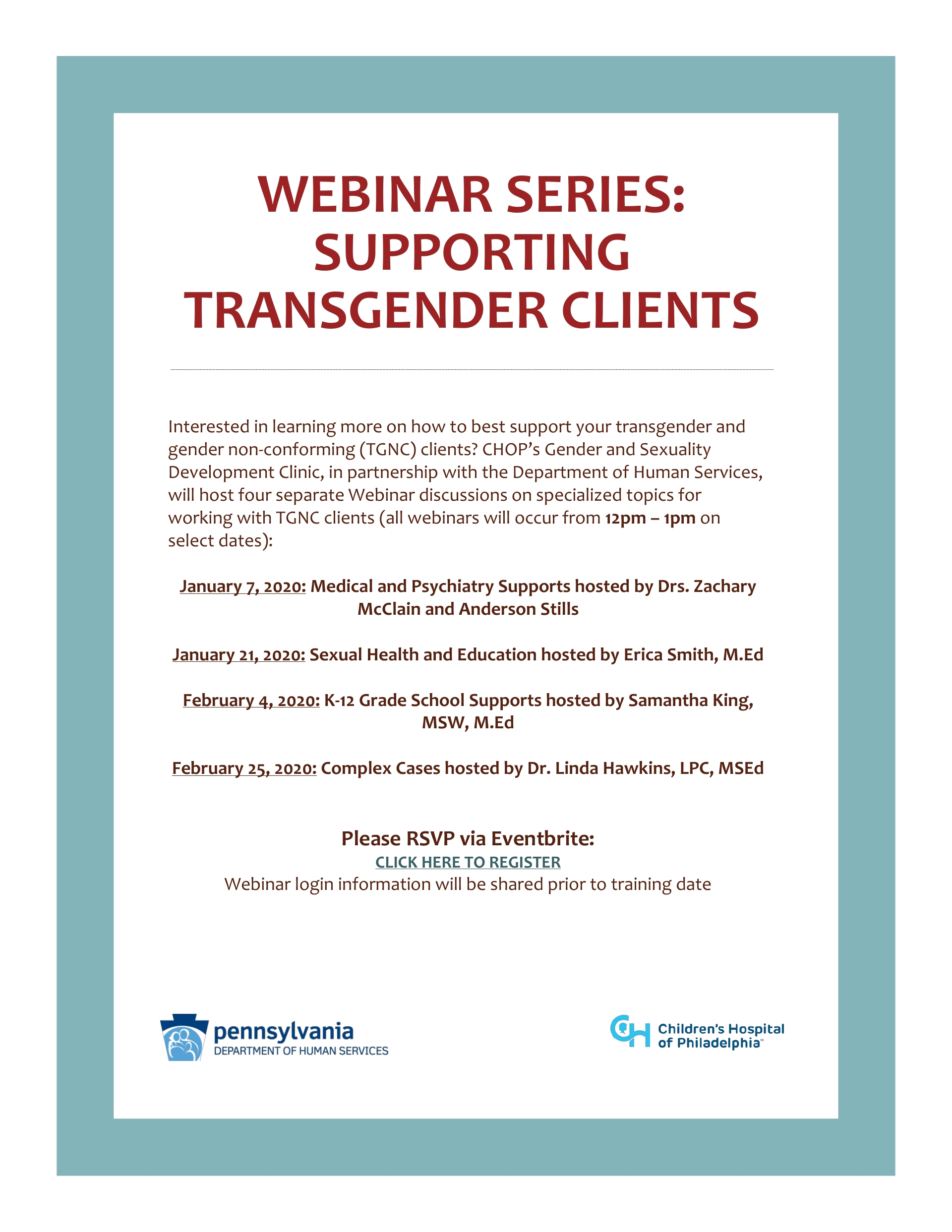 WEBINAR SERIES: SUPPORTING TRANSGENDER CLIENTS January and February 2020