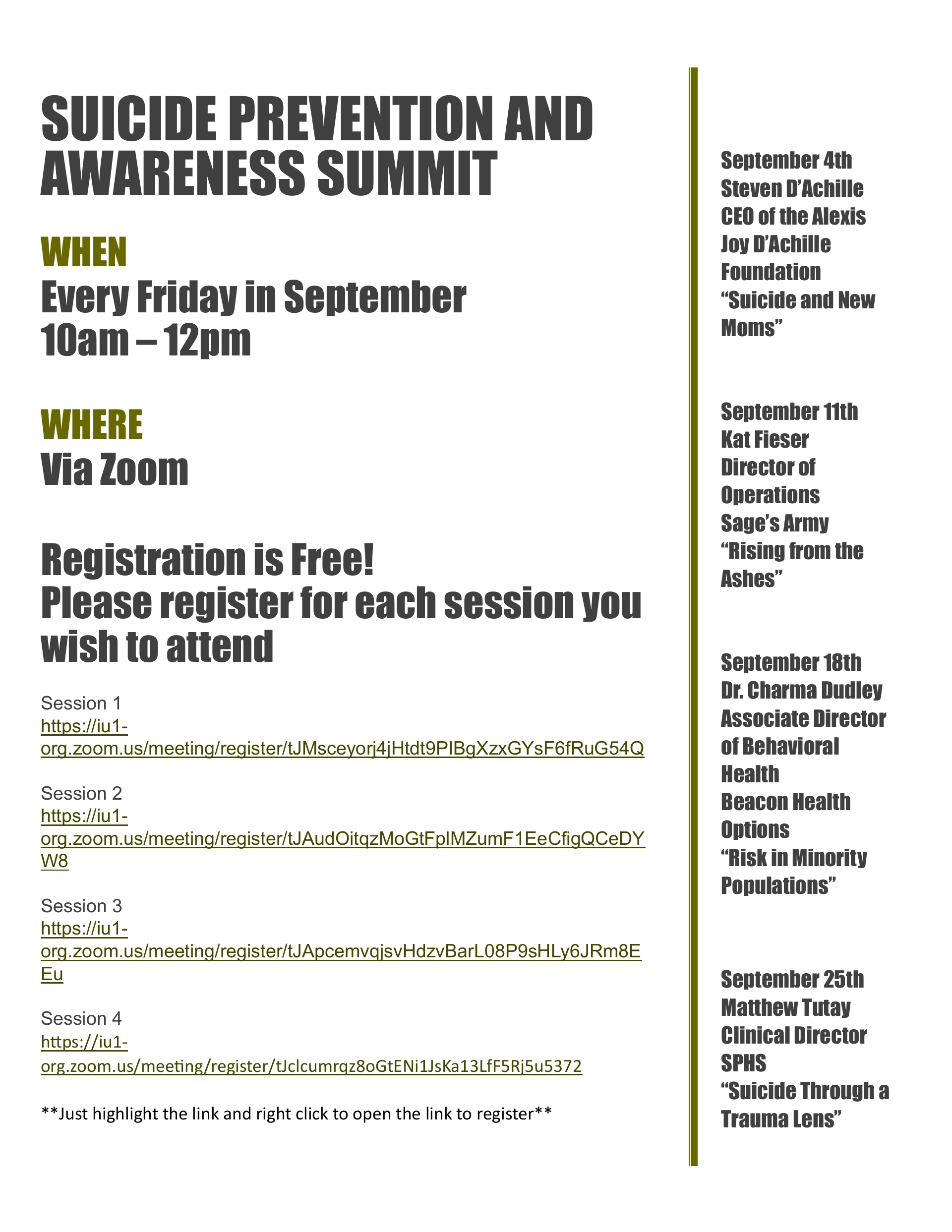 SEPTEMBER FRIDAYS SUICIDE PREVENTION AND AWARENESS SUMMIT