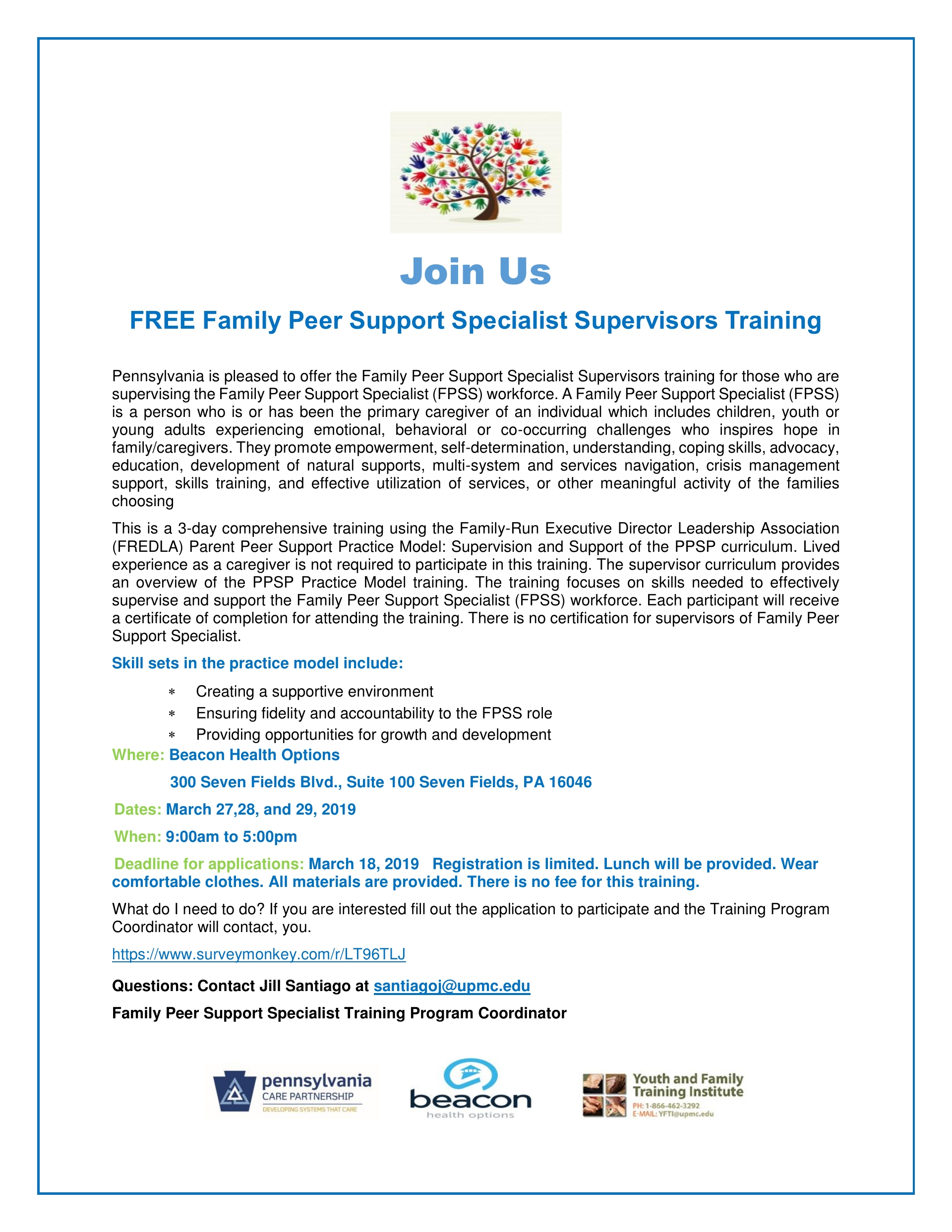 FREE Family Peer Support Specialist Supervisors Training   CRANBERRY TWP, PA
