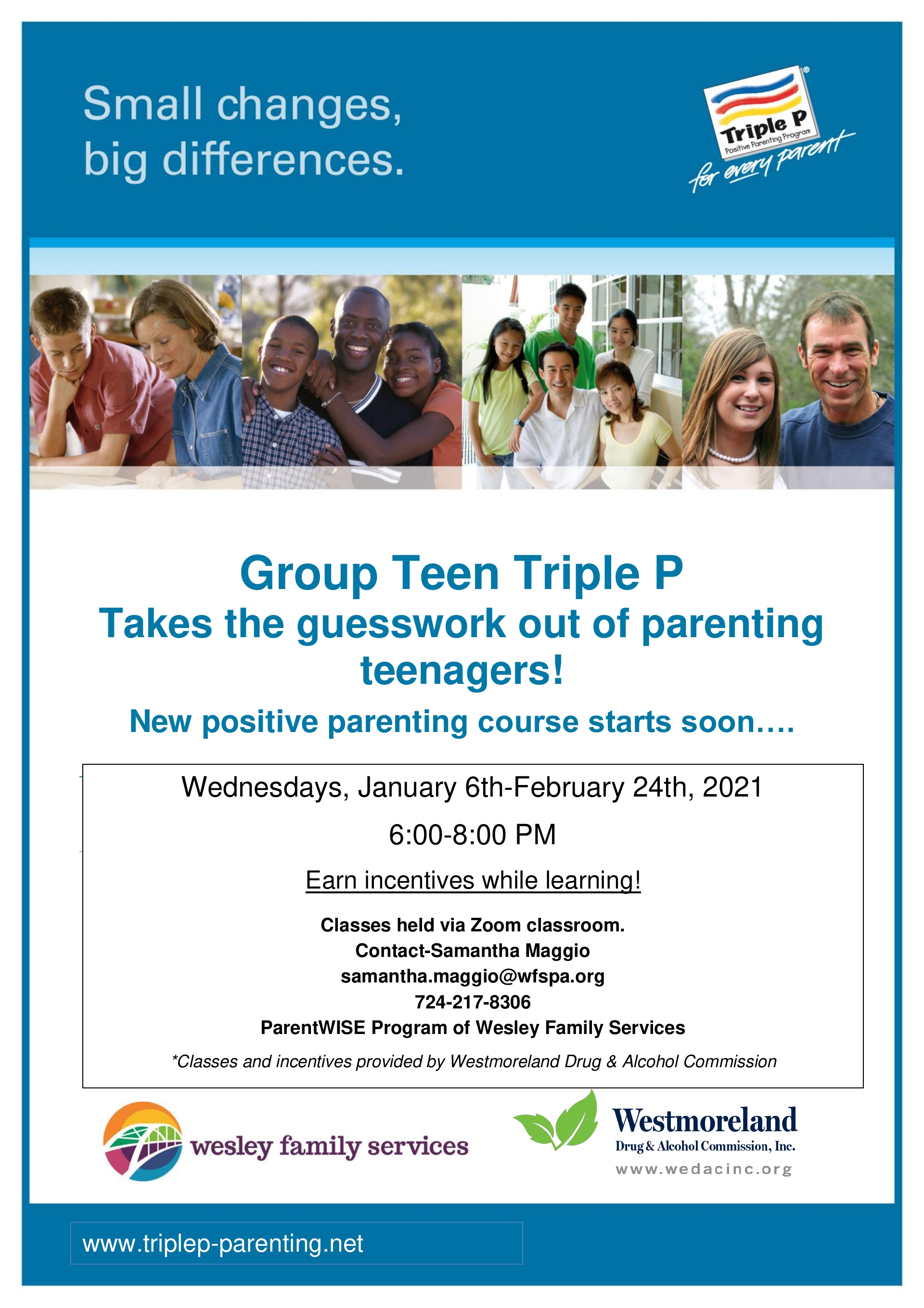 PARENTING TEENS! Parenting Classes January 2021! Armstrong, Allegheny, Butler, Fayette, Westmoreland