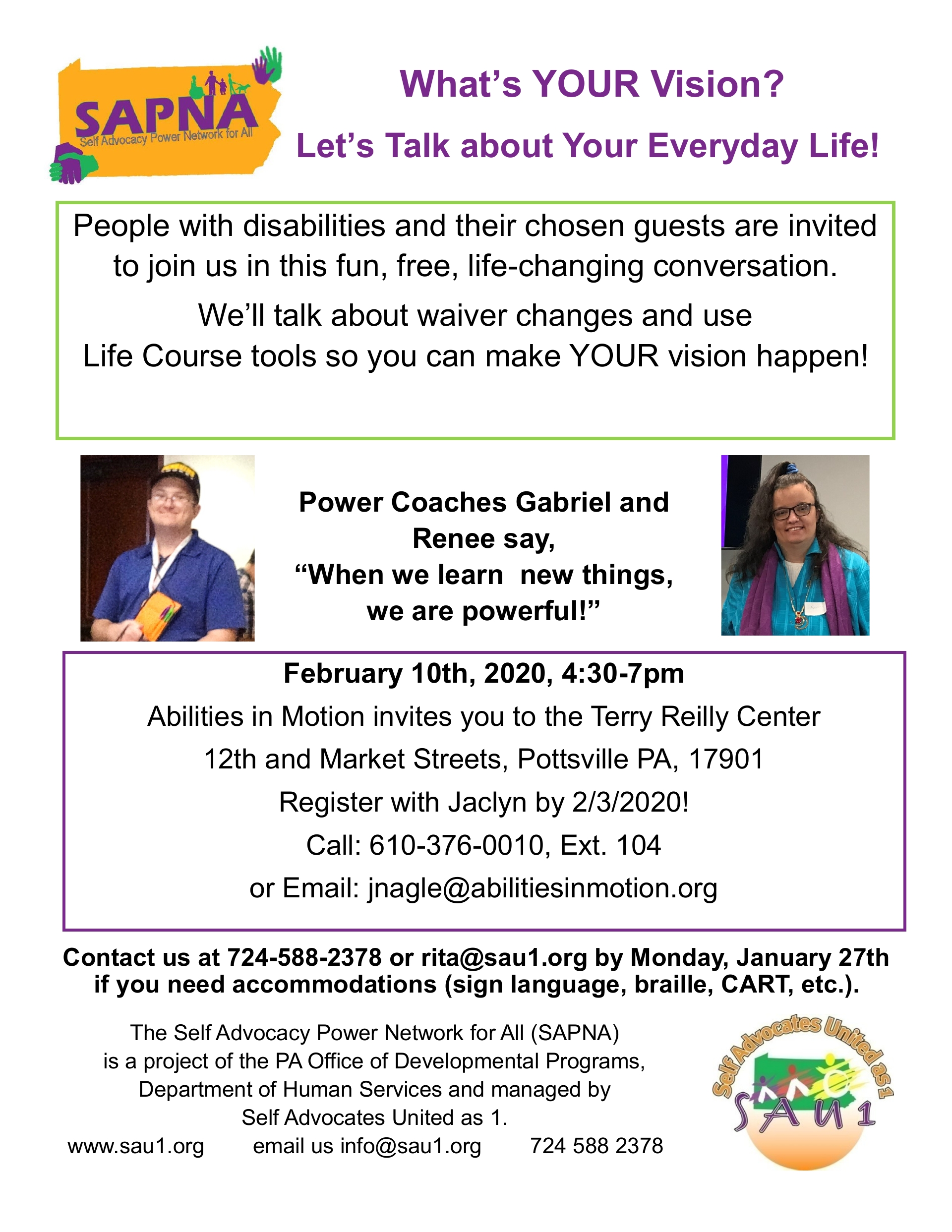 TRAINING  Let's Talk About Your Vision for Your Everyday Life! Montg, Bedford, Phil, Berks Counties