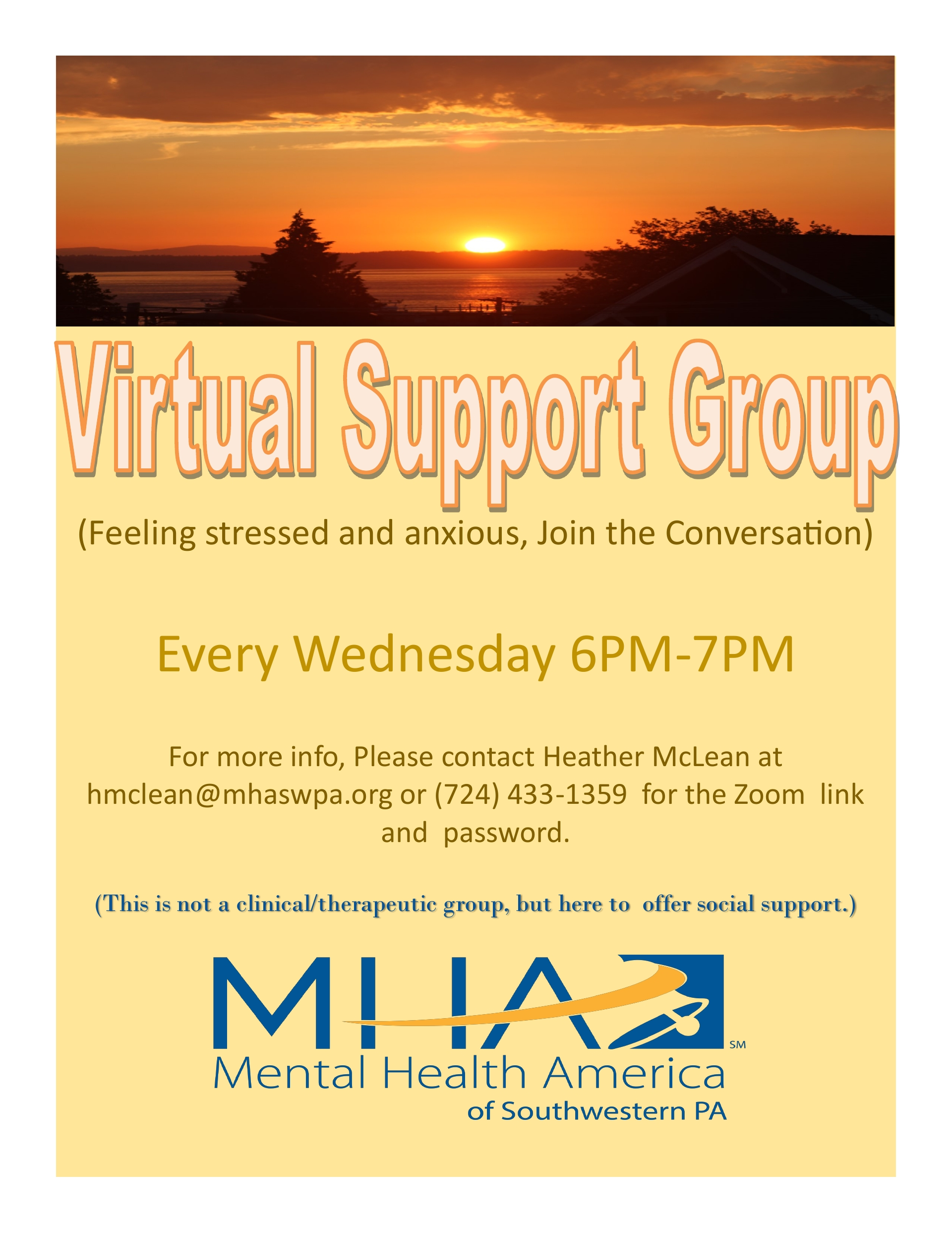 VIRTUAL SUPPORT GROUP every Wednesday!