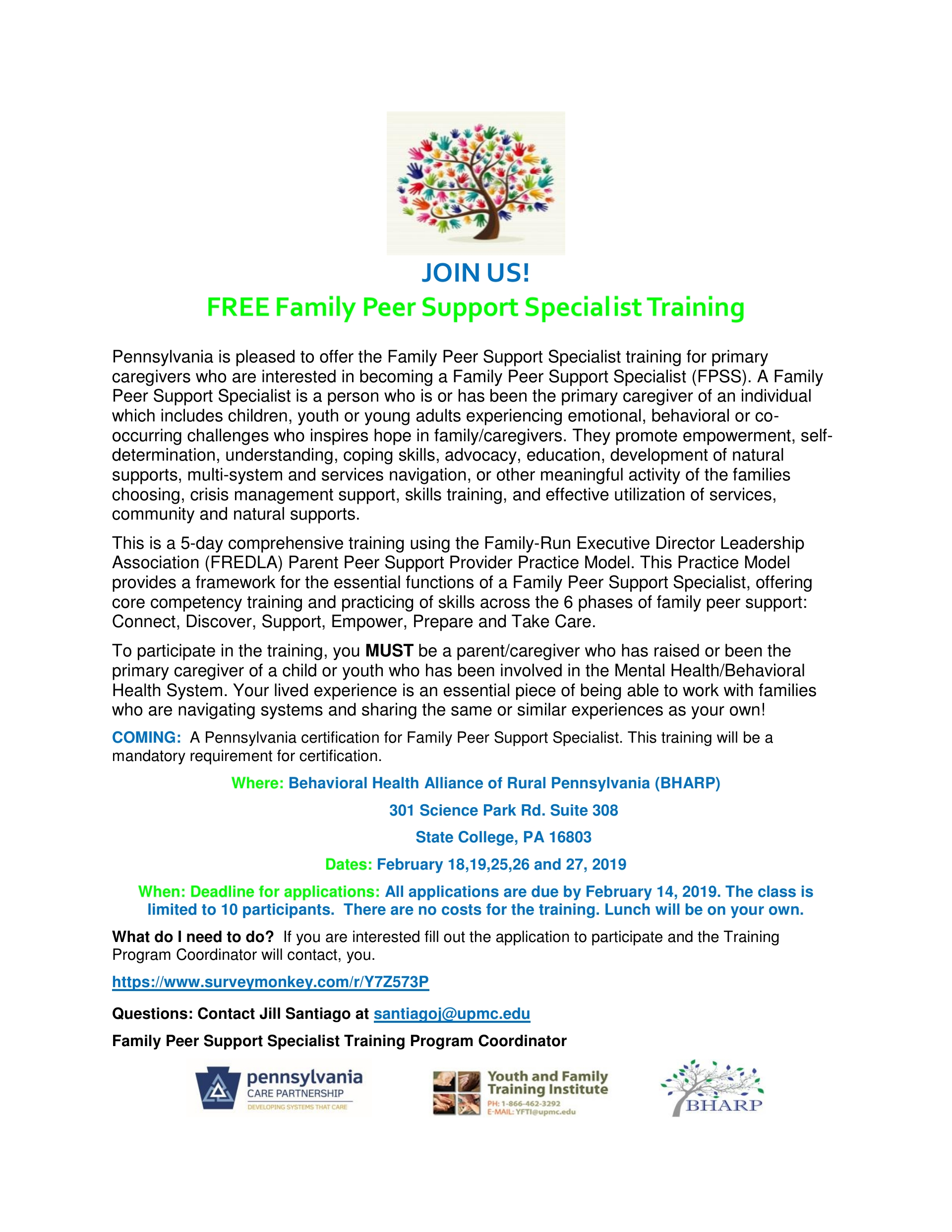 Family Peer Support Specialist Training FREE  STATE COLLEGE