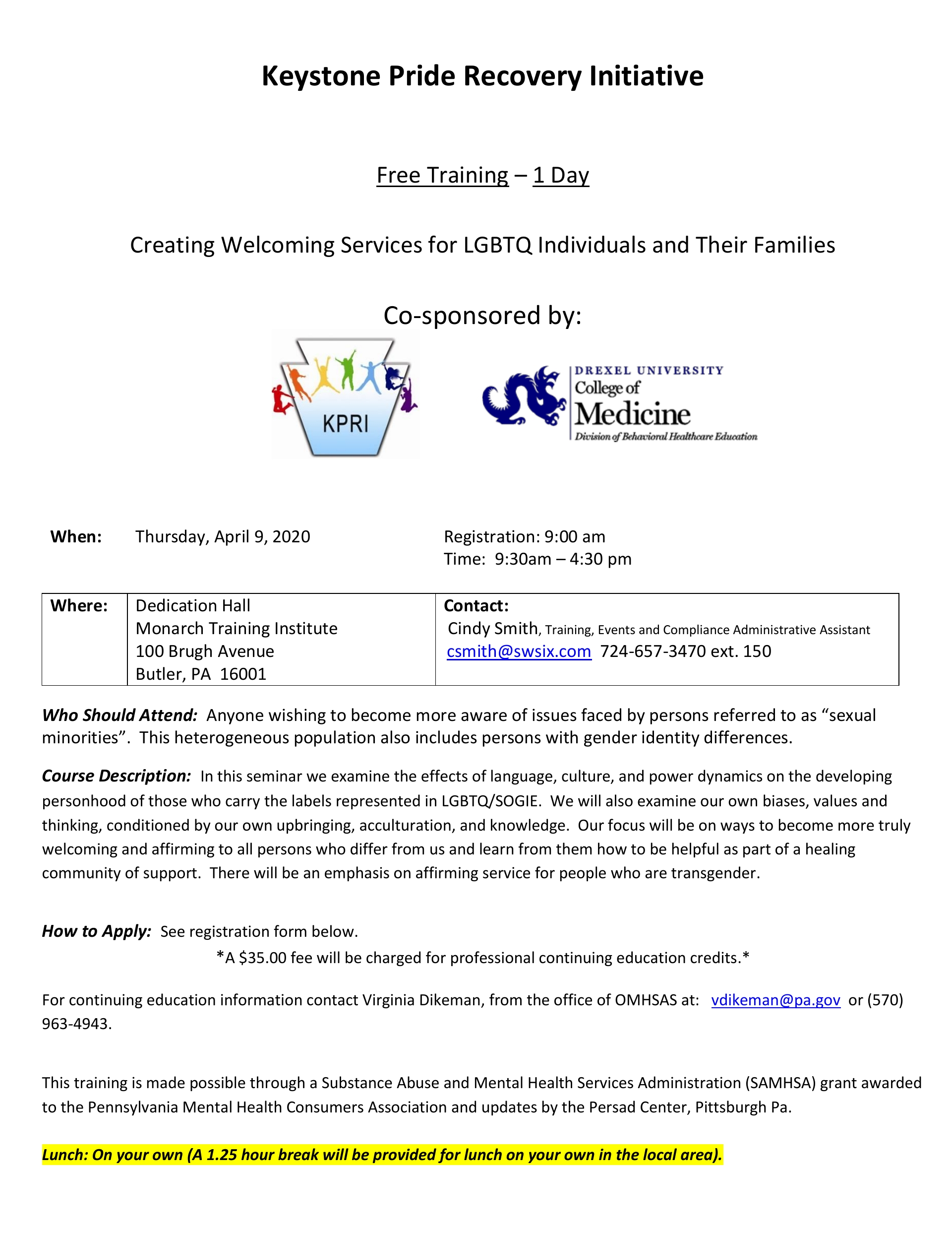 """Creating Welcoming Services for LGBTQ Individuals and Their Families."" Butler County April 2020"