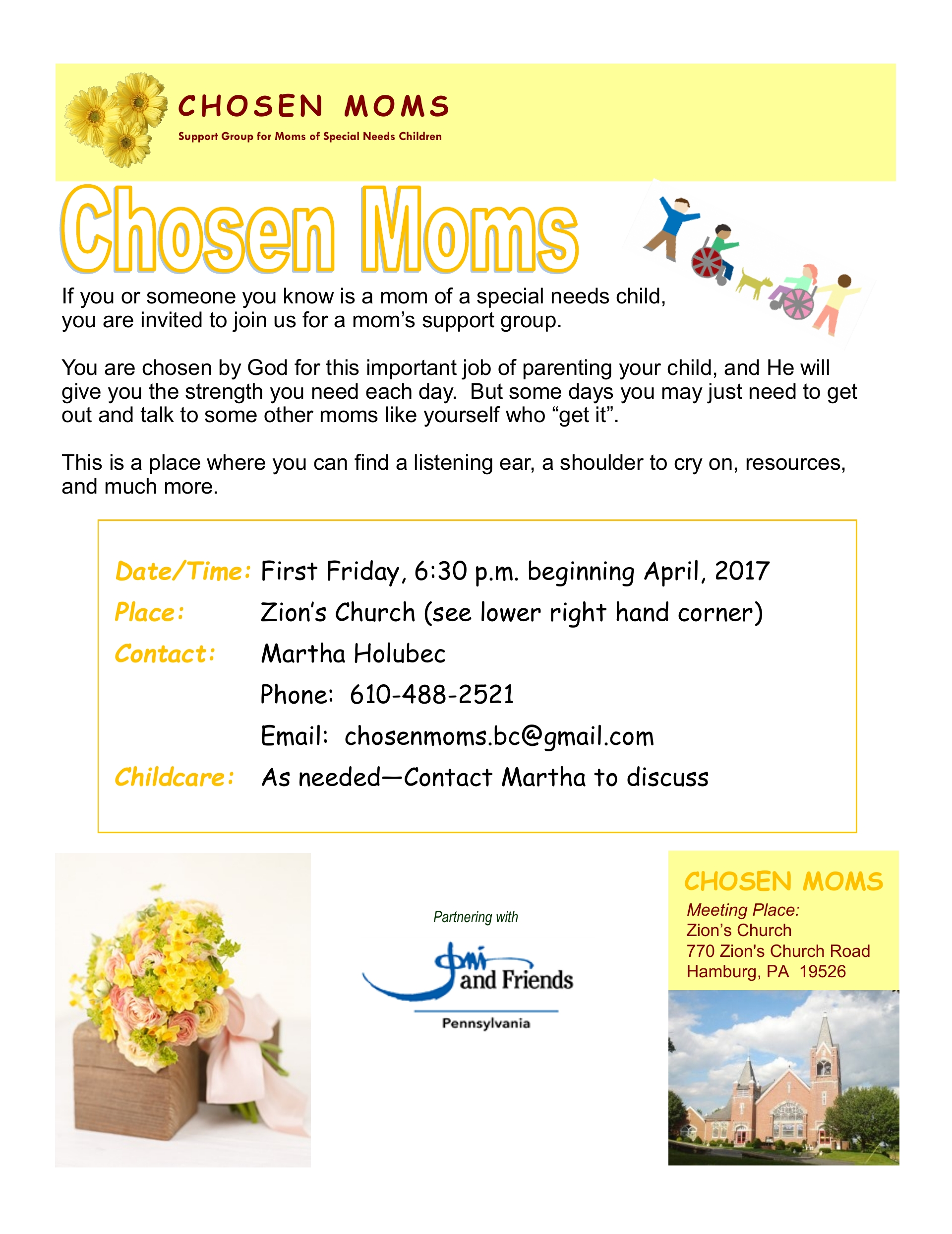 CHOSEN MOMS SUPPORT GROUP  (Moms of children with special needs)