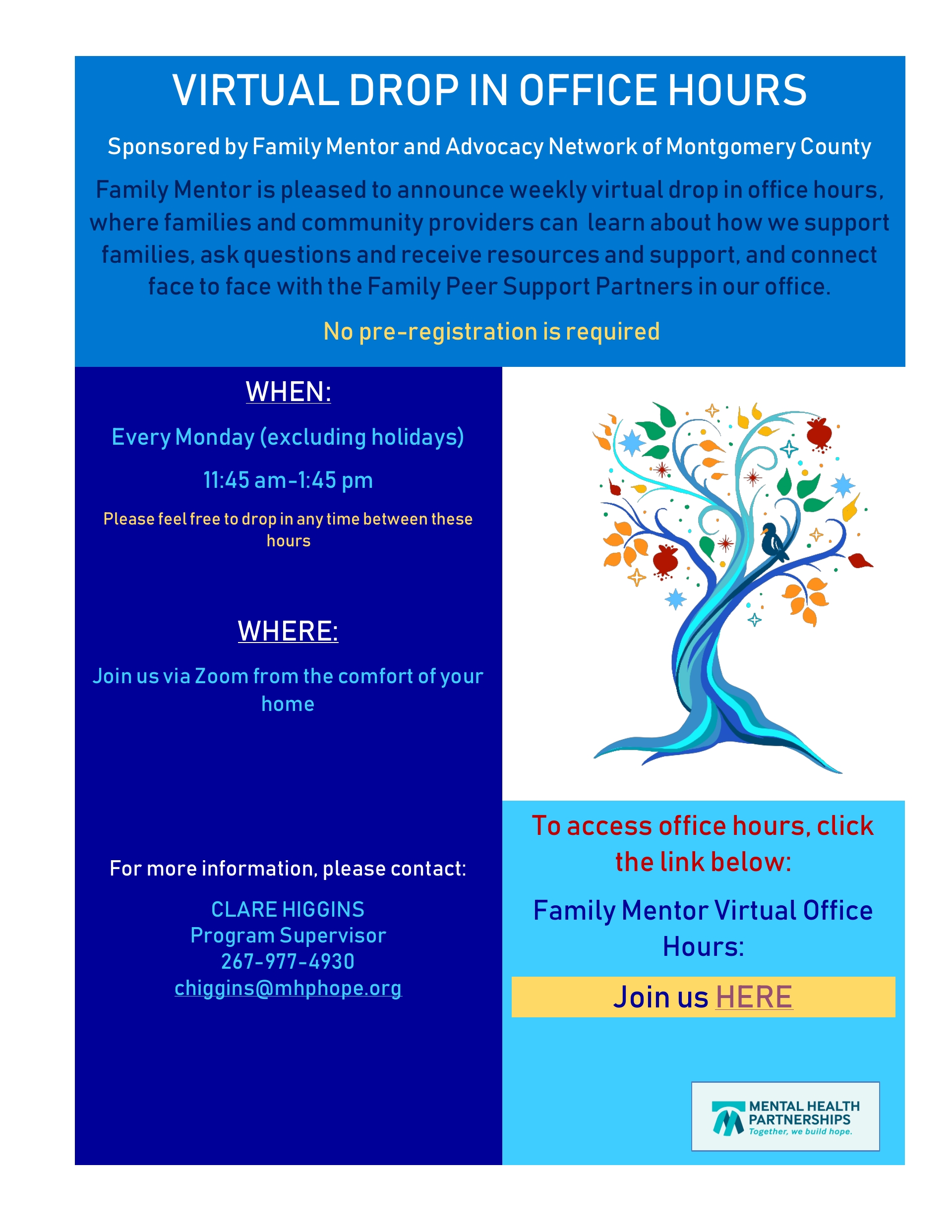 New Family Support Group & Virtual Hours for Family Mentor & Advocacy Network Montgomery County Oct.