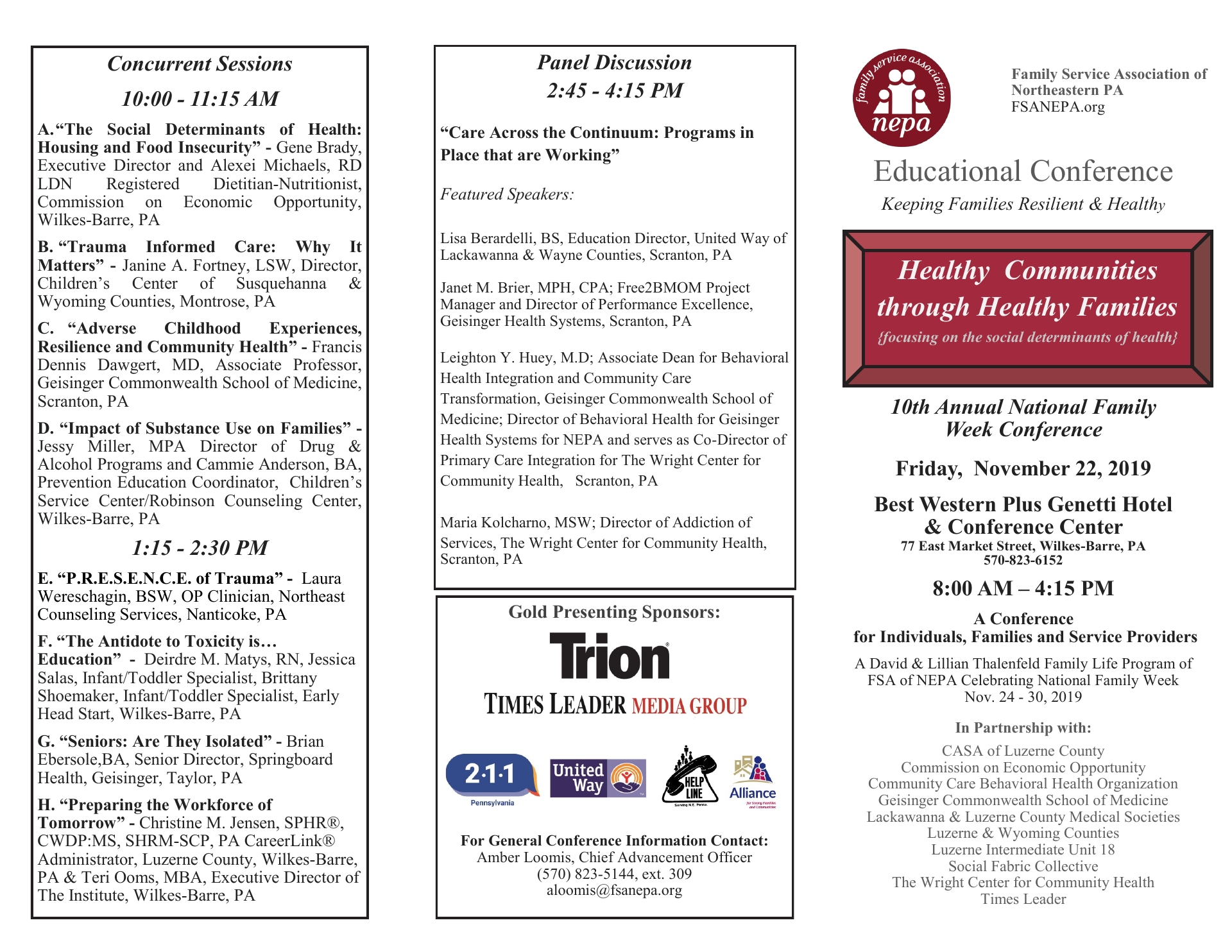 CONFERENCE 10th Annual National Family Week Conference  November 2019 Luzerne County