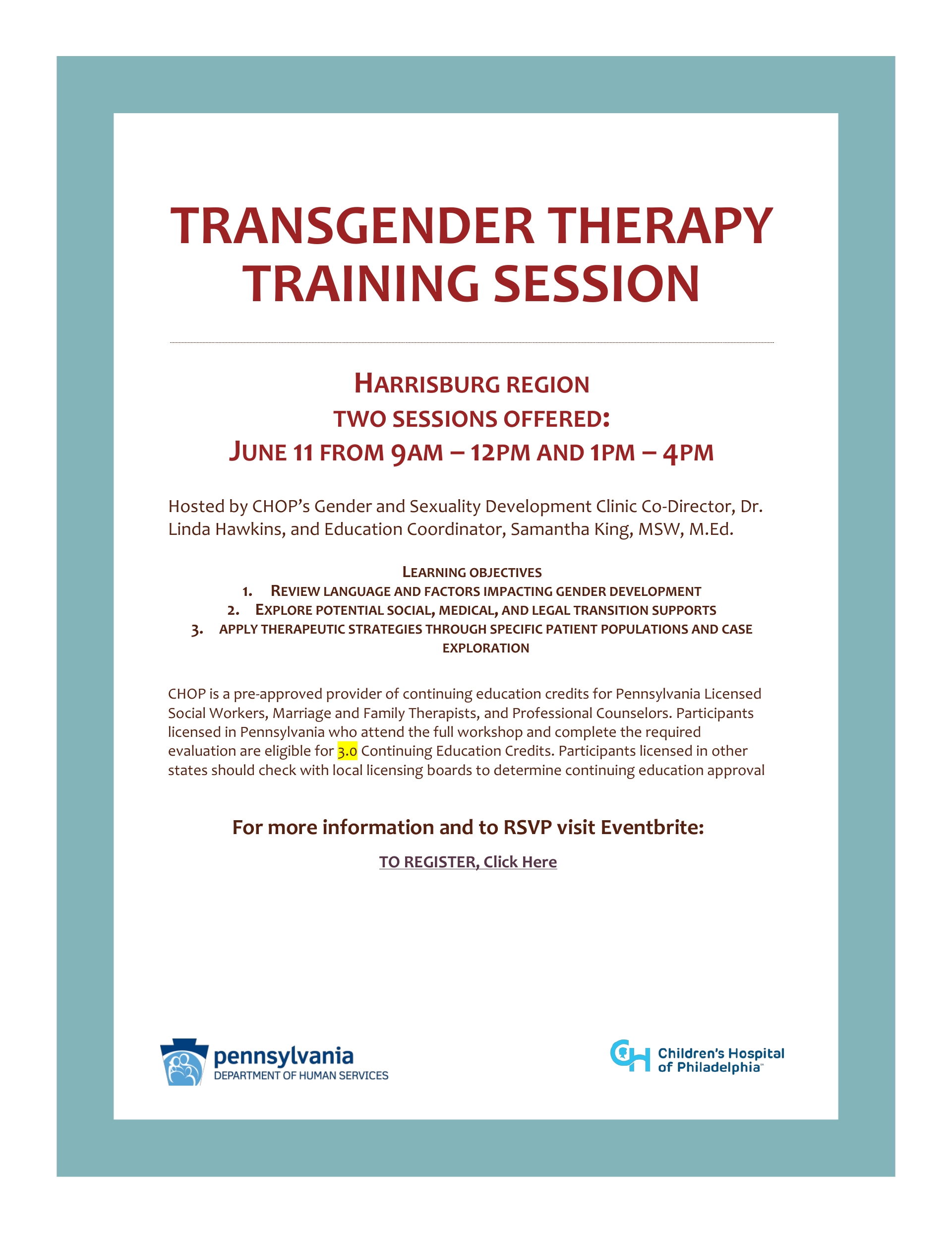 Transgender Training- Harrisburg, Scranton, and Philadelphia Registration Open