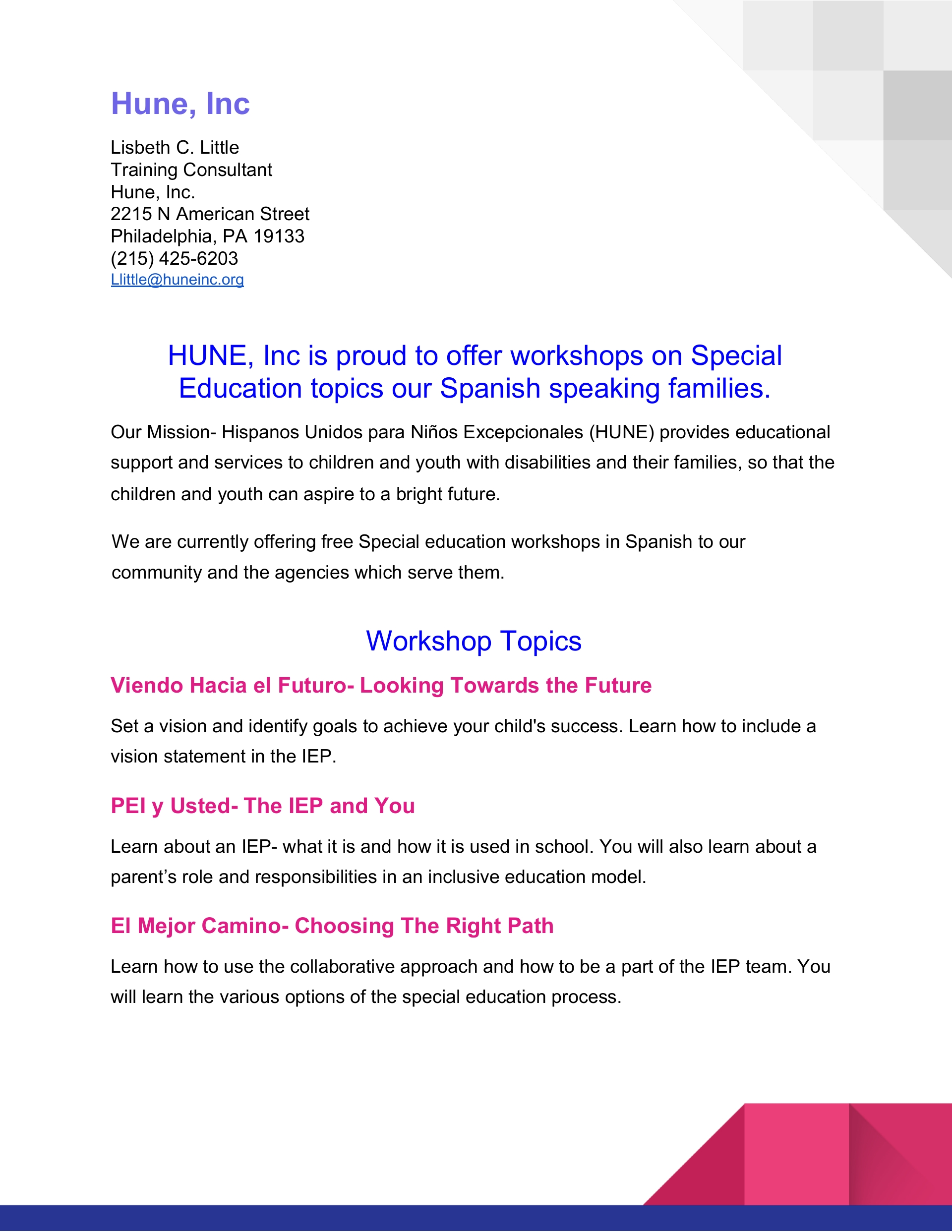 SPECIAL EDUCATION WORKSHOPS IN SPANISH