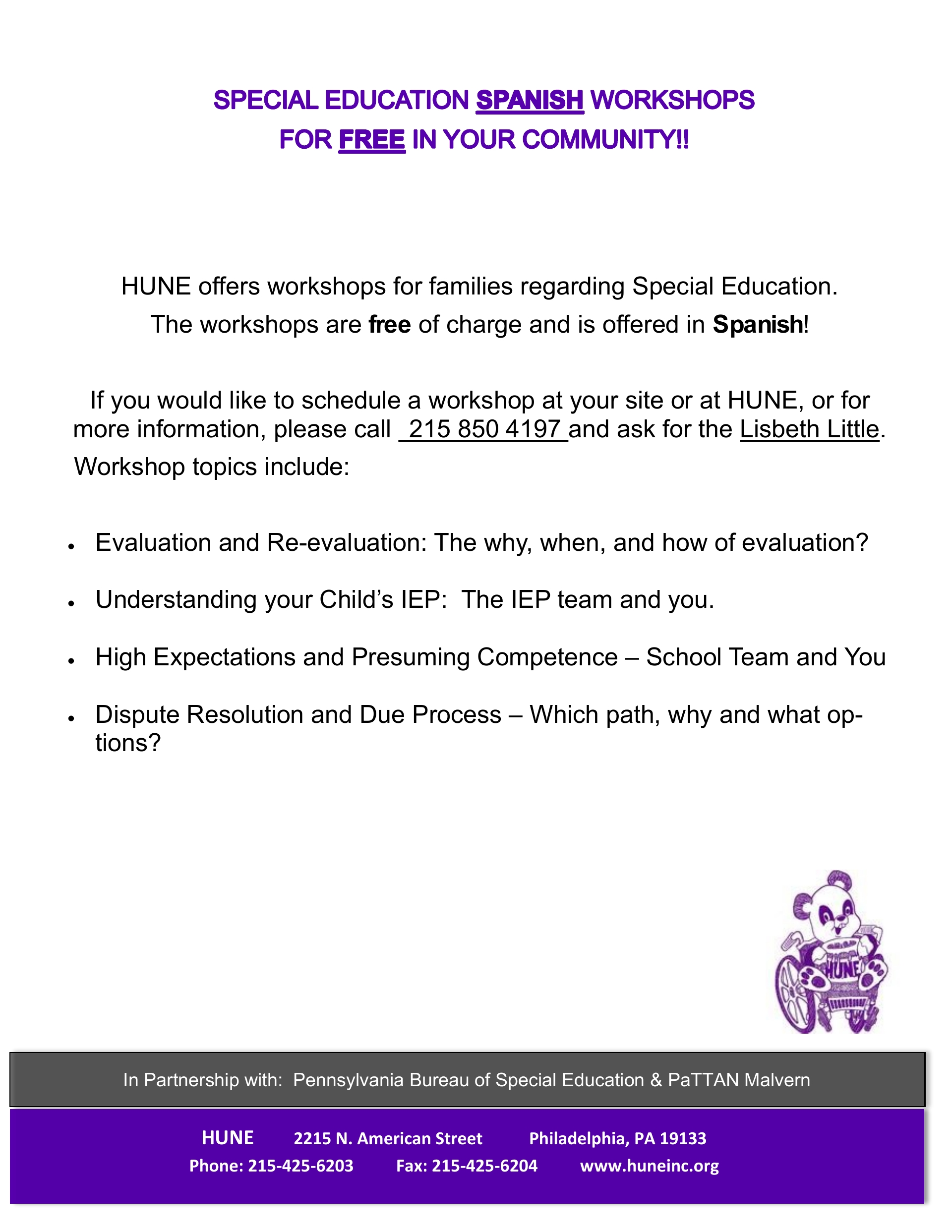 SPECIAL EDUCATION WORKSHOPS PARTNERS NEEDED