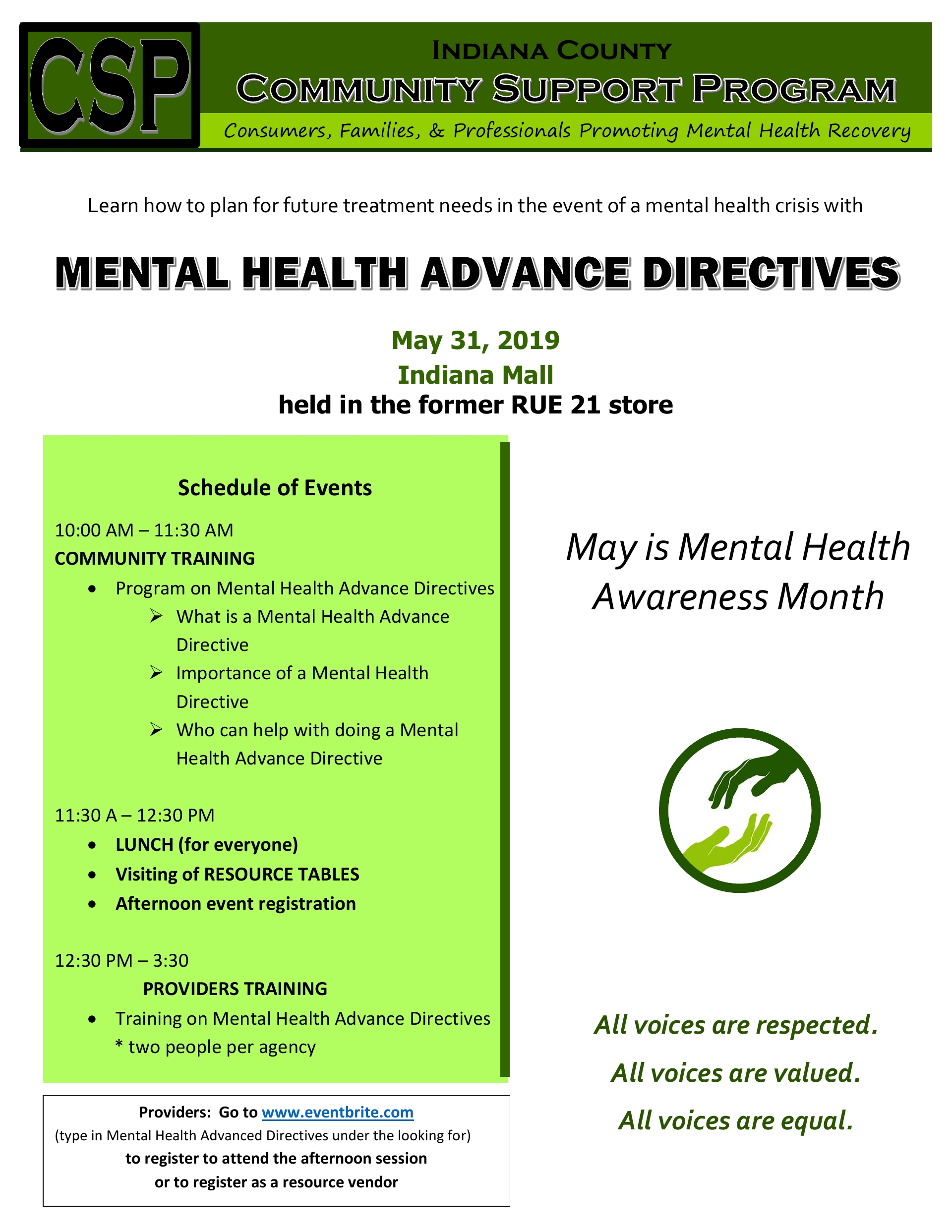May 31st Mental Health Advanced Directive Event Indiana PA