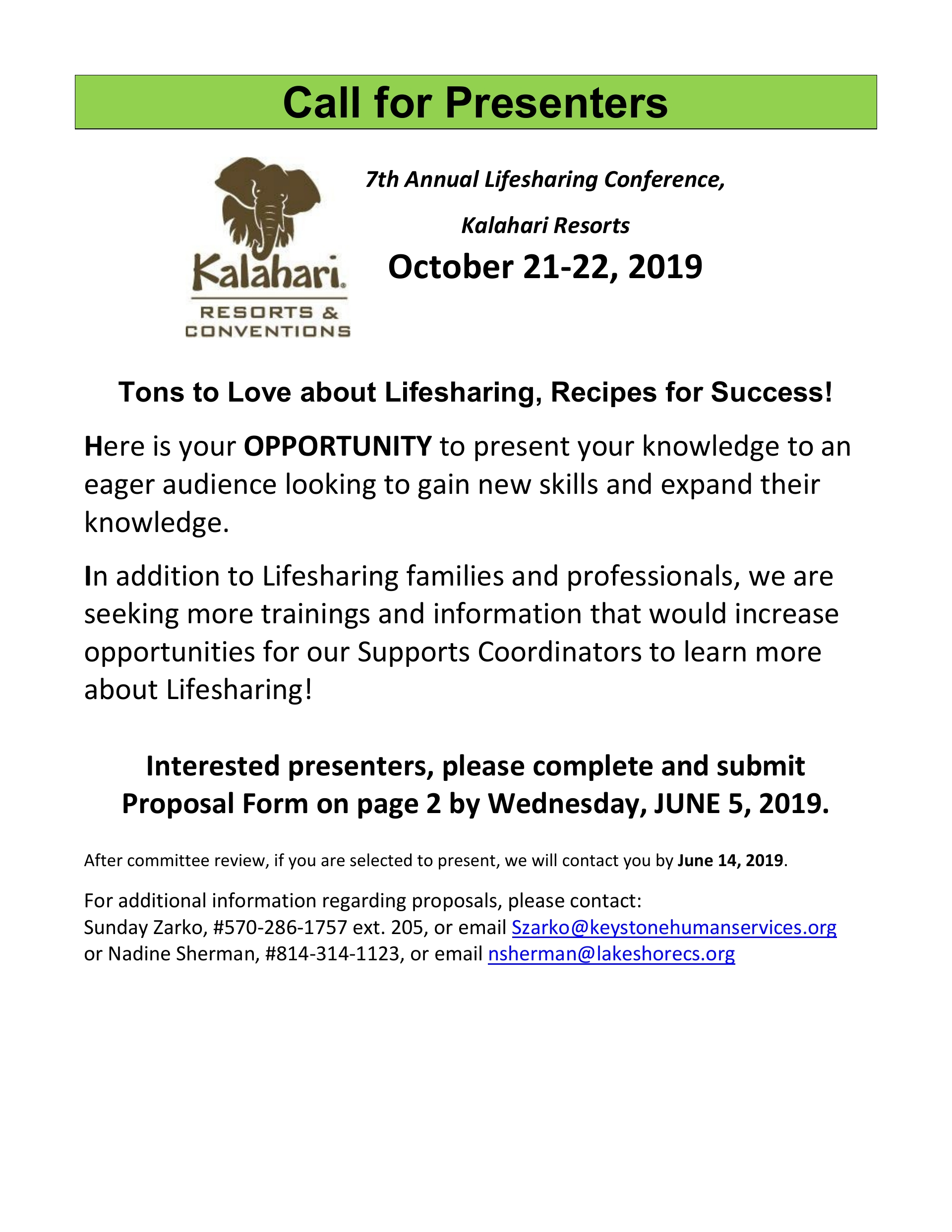 PROPOSALS NEEDED for 7th Annual Lifesharing Conference