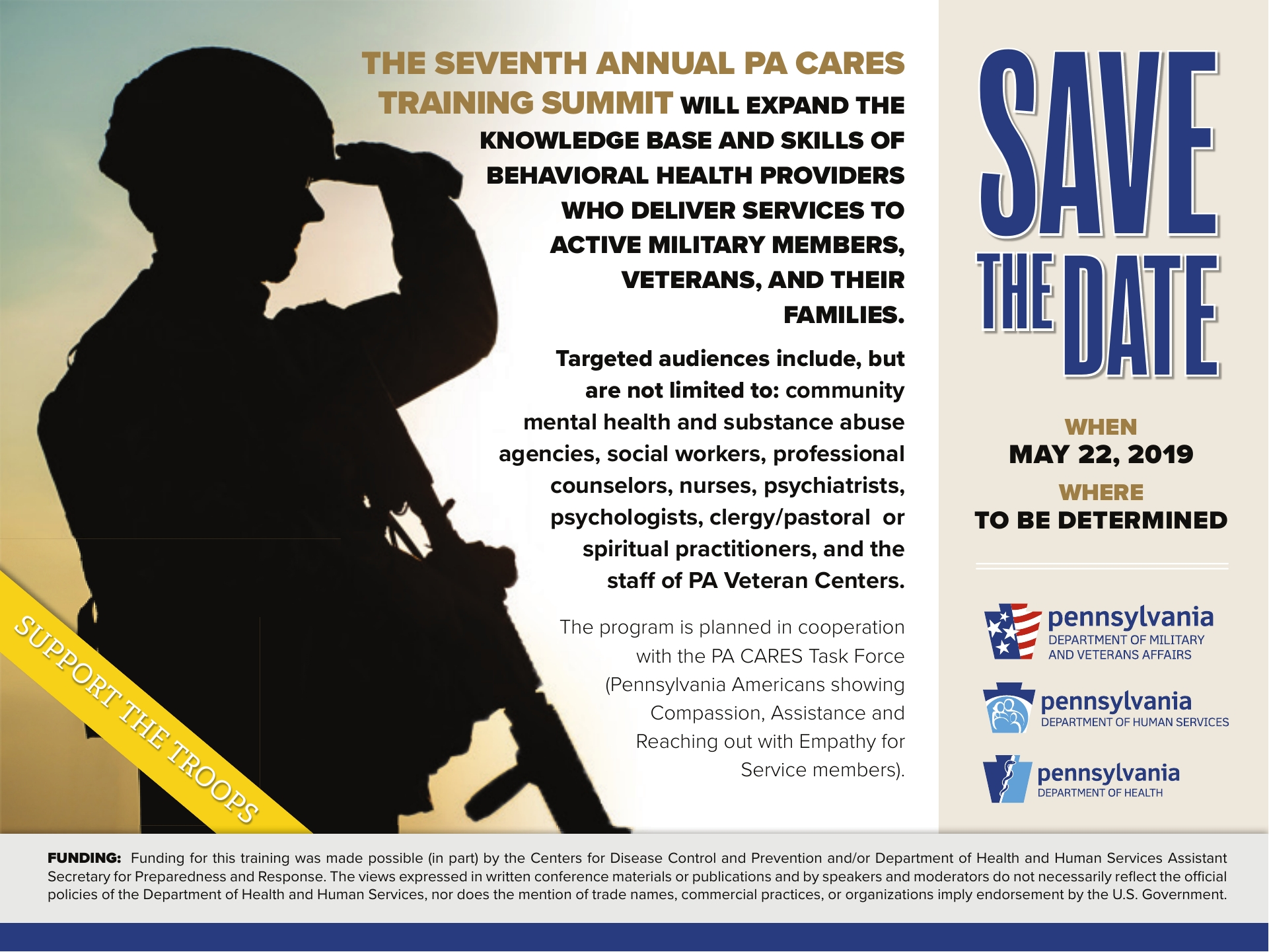 PA CARES TRAINING SUMMIT 2019  Behavioral Health and Military