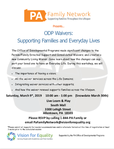 ODP WAIVERS LEARN ABOUT THEM! MARCH 9. 2019 Allentown PA