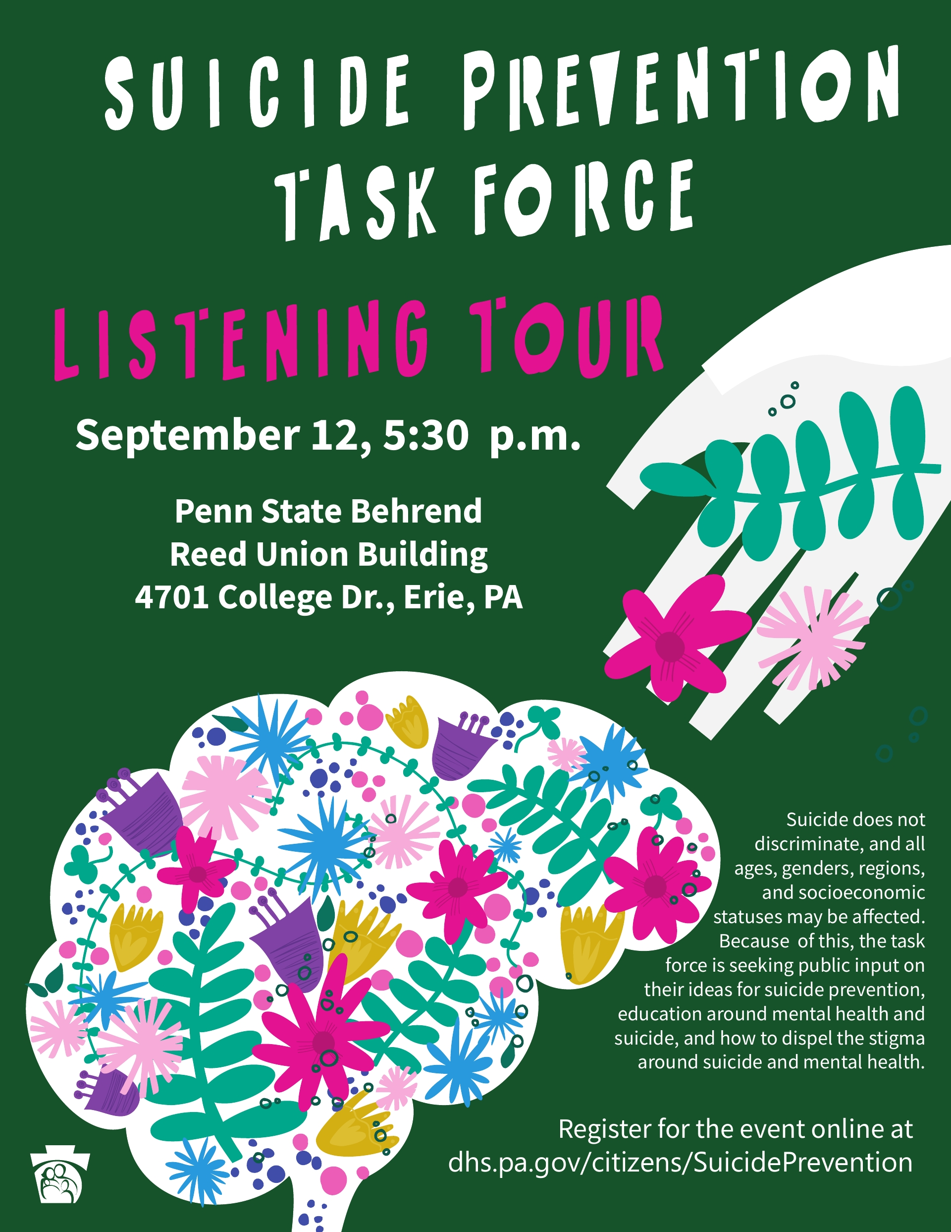 SUICIDE TASK FORCE LISTENING TOUR Erie, Phil.,York, Luzerne, Lehigh, Allegheny, Butler, SE PA
