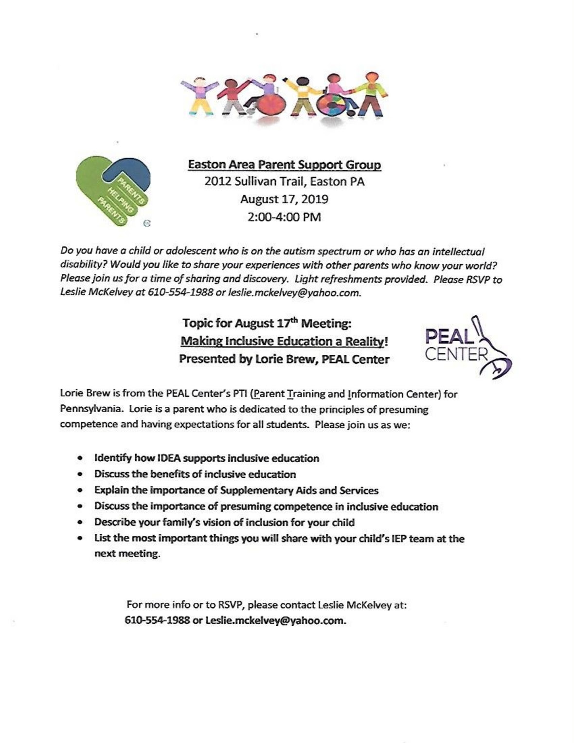 **PARENT SUPPORT GROUP MEETINGS August and September 2019** EASTON PA